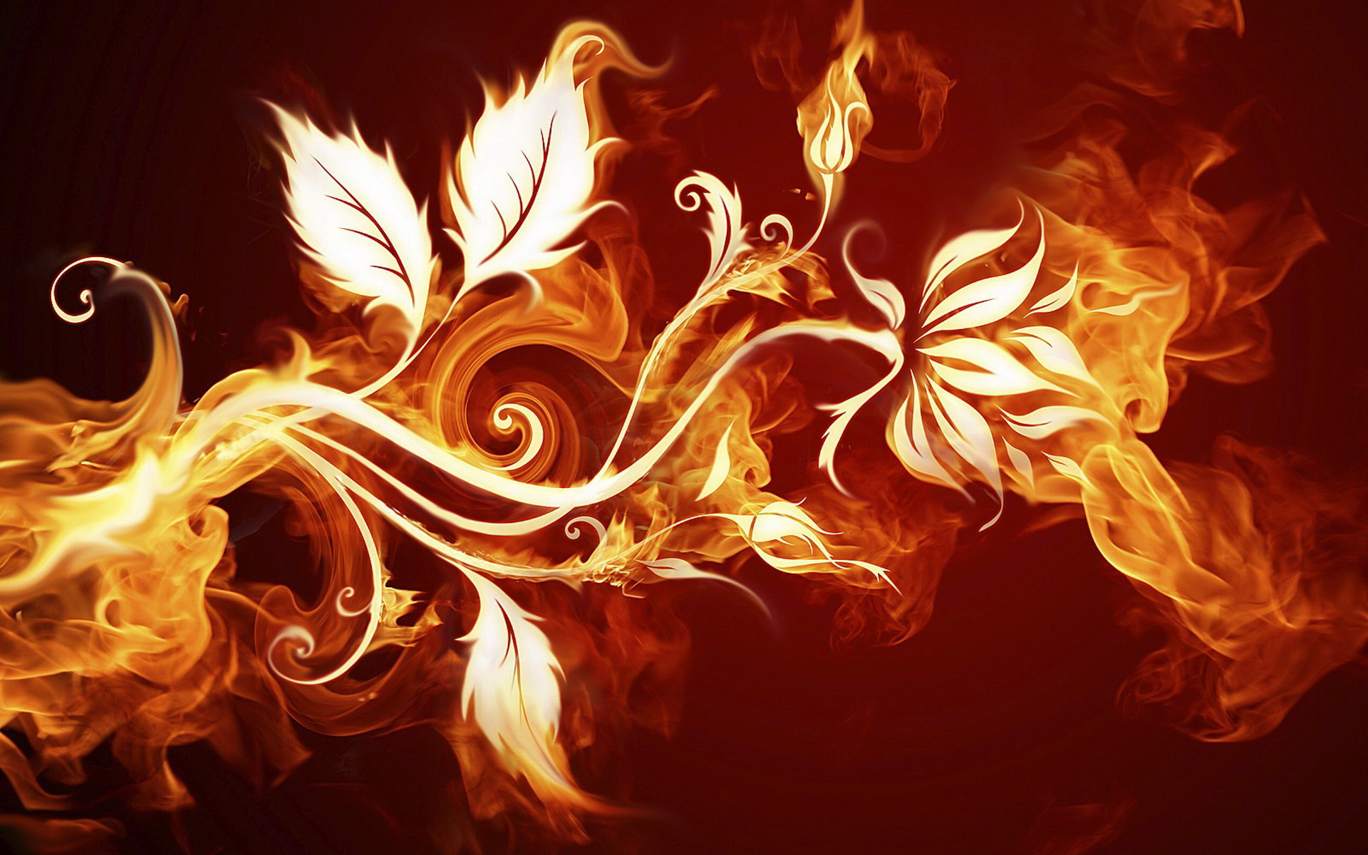 3D Abstract Fire Flowers