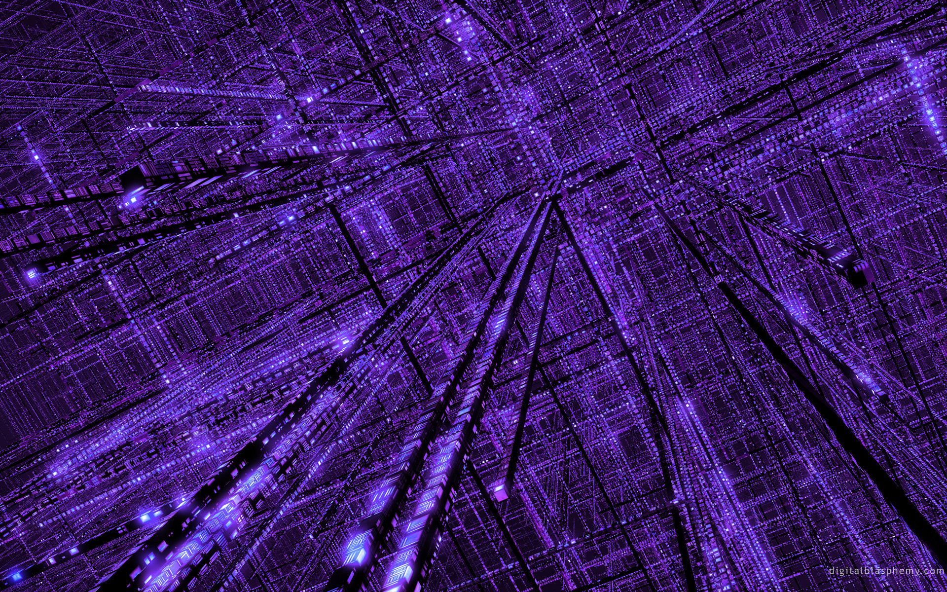 3D view abstract purple grid