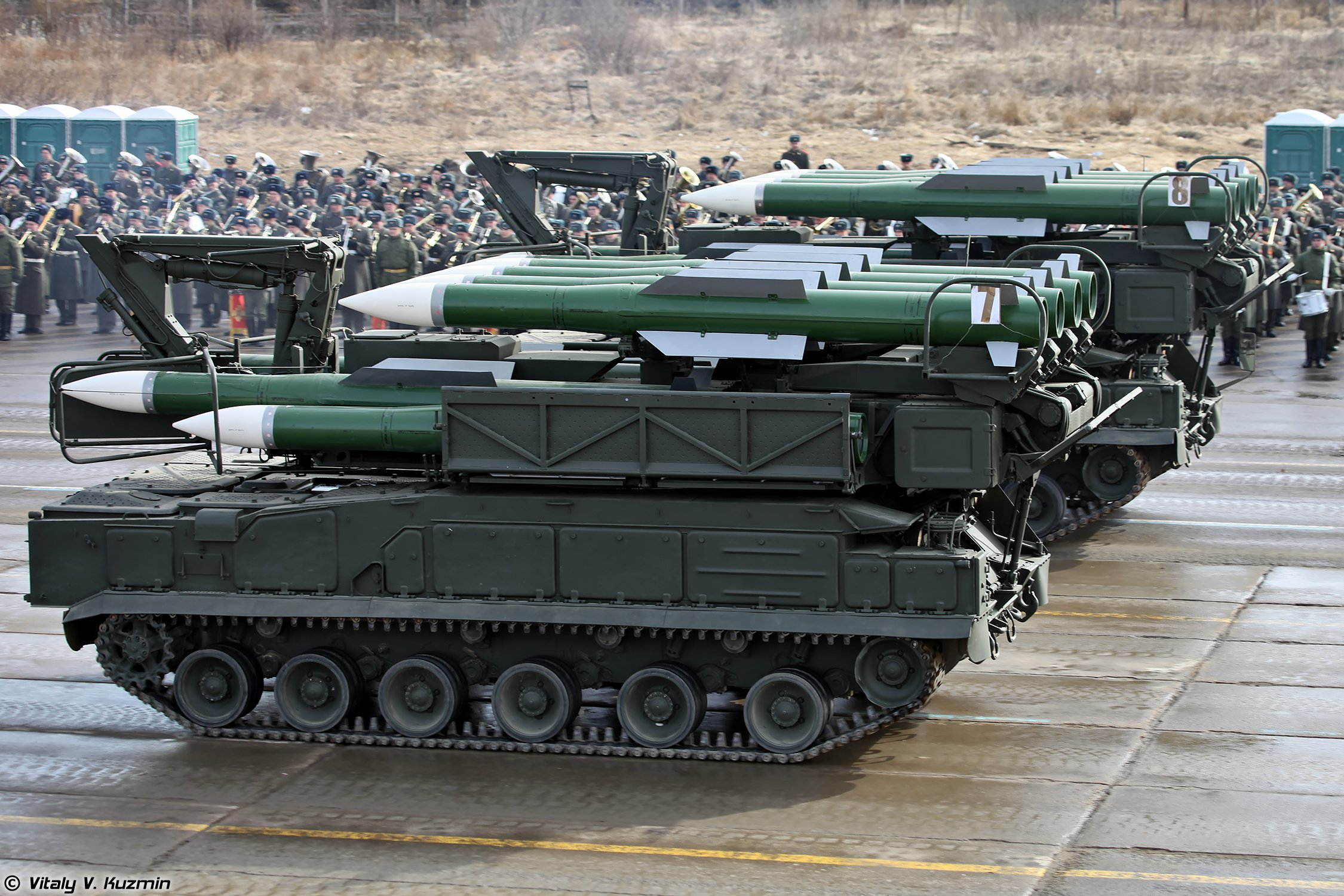 9A316 transporter erector launcher and transloader for Buk-M2 air defence system missile April 9th rehearsal in Alabino of 2014 Victory Day Parade Russia military army russian