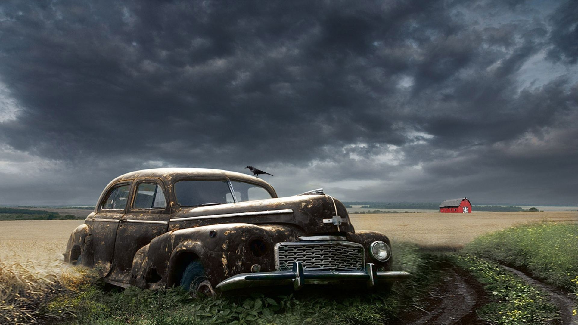 Abandoned Rusty Classic Car in a Field