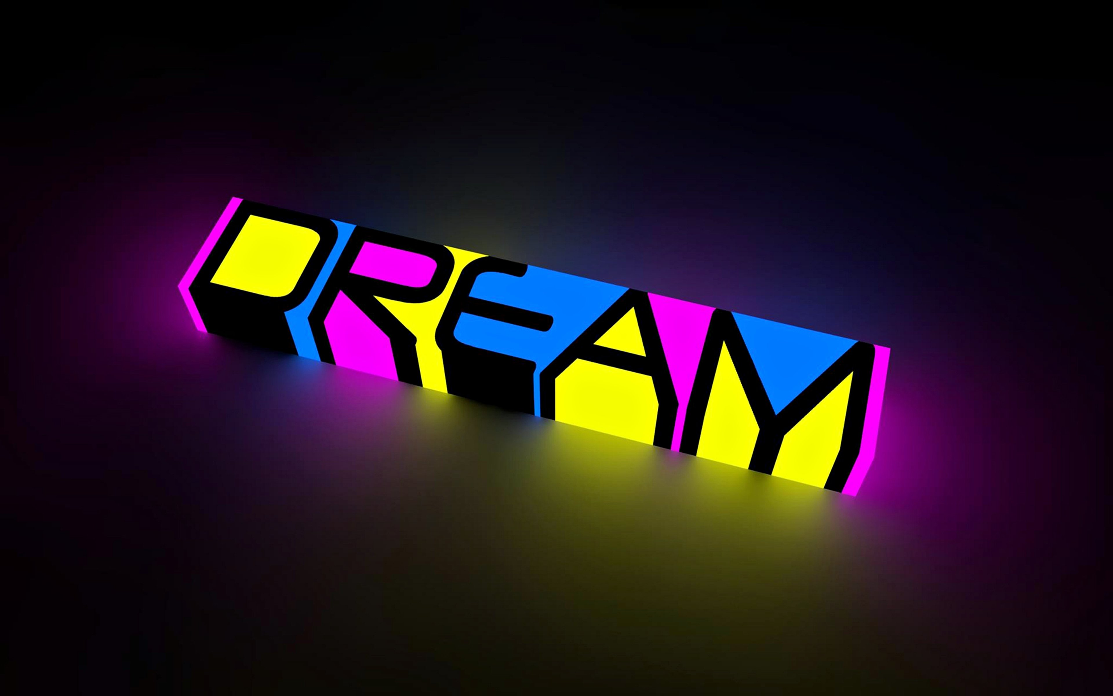 abstract dream colors neon bright words letters motivational inspiration text statement background wallpapes