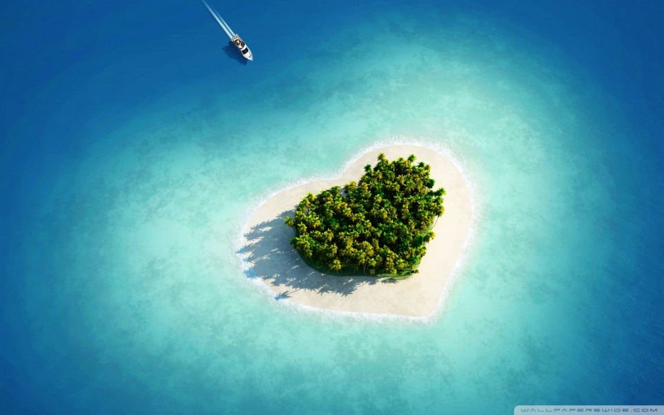 Aerial view of heart shaped tropical island