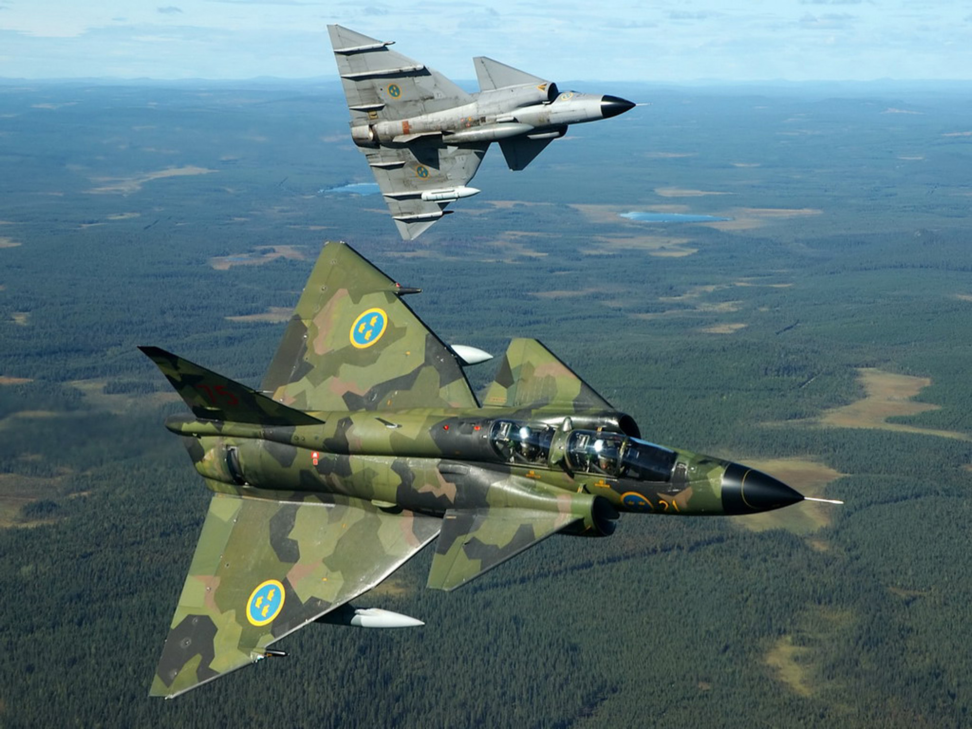 Aircraft military viggen swedish air force fighter jet