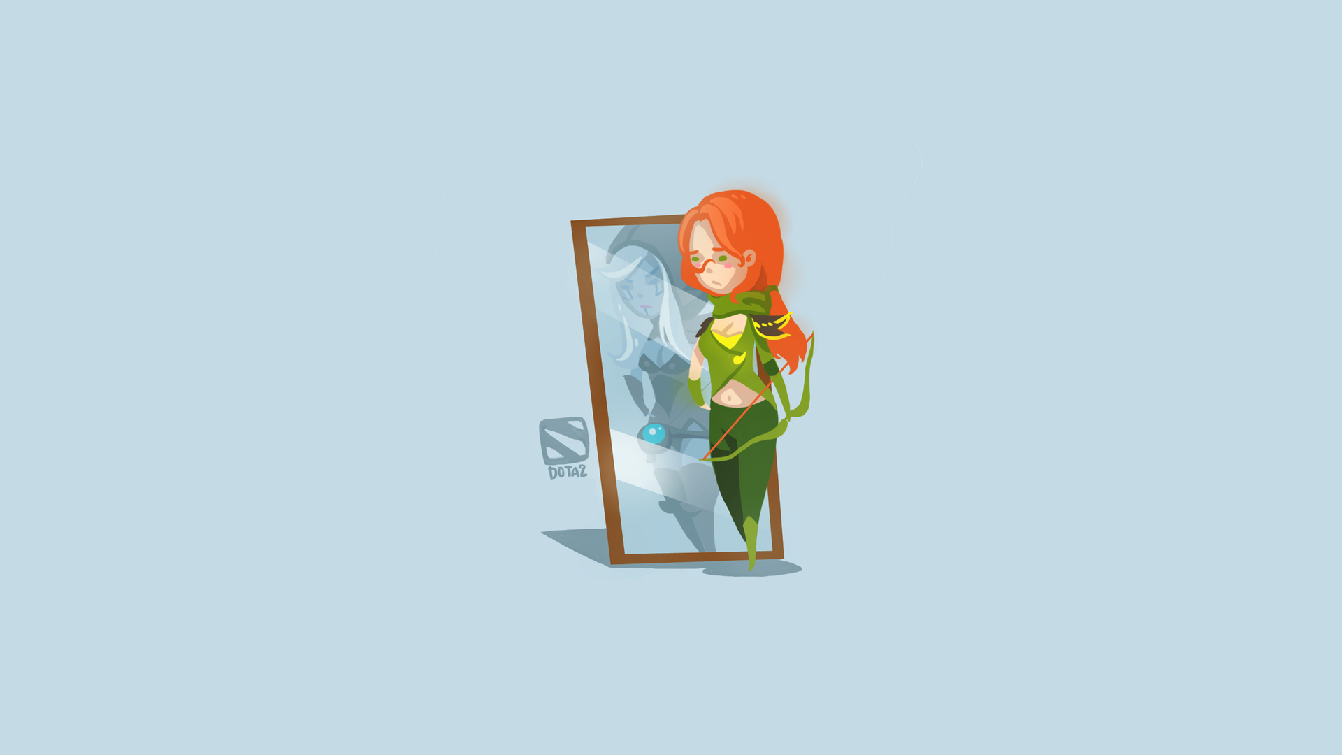 Alleria Windrunner seeing the Drow Ranger in the mirror