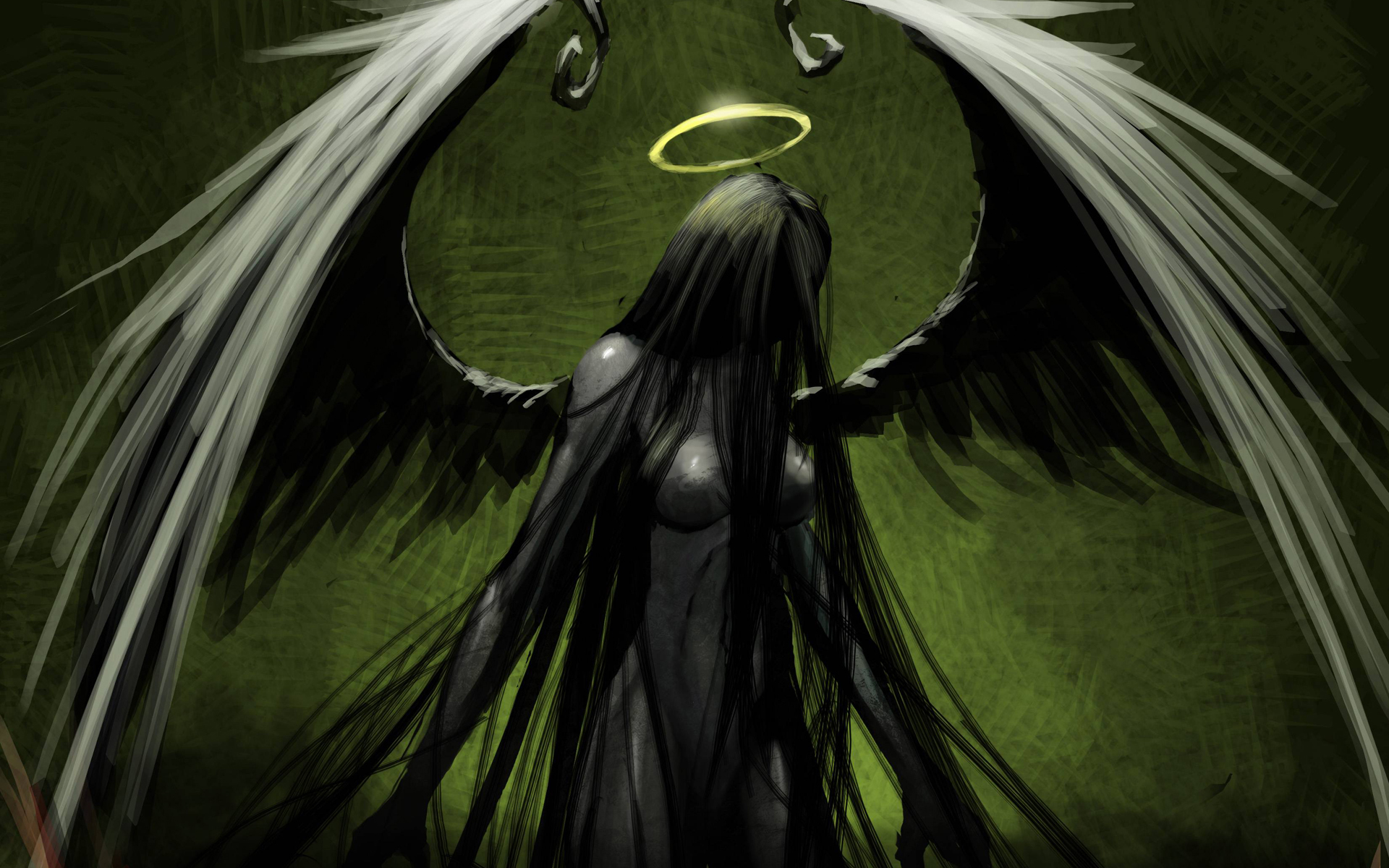 Angel Green Drawing Halo Wings gothic dark