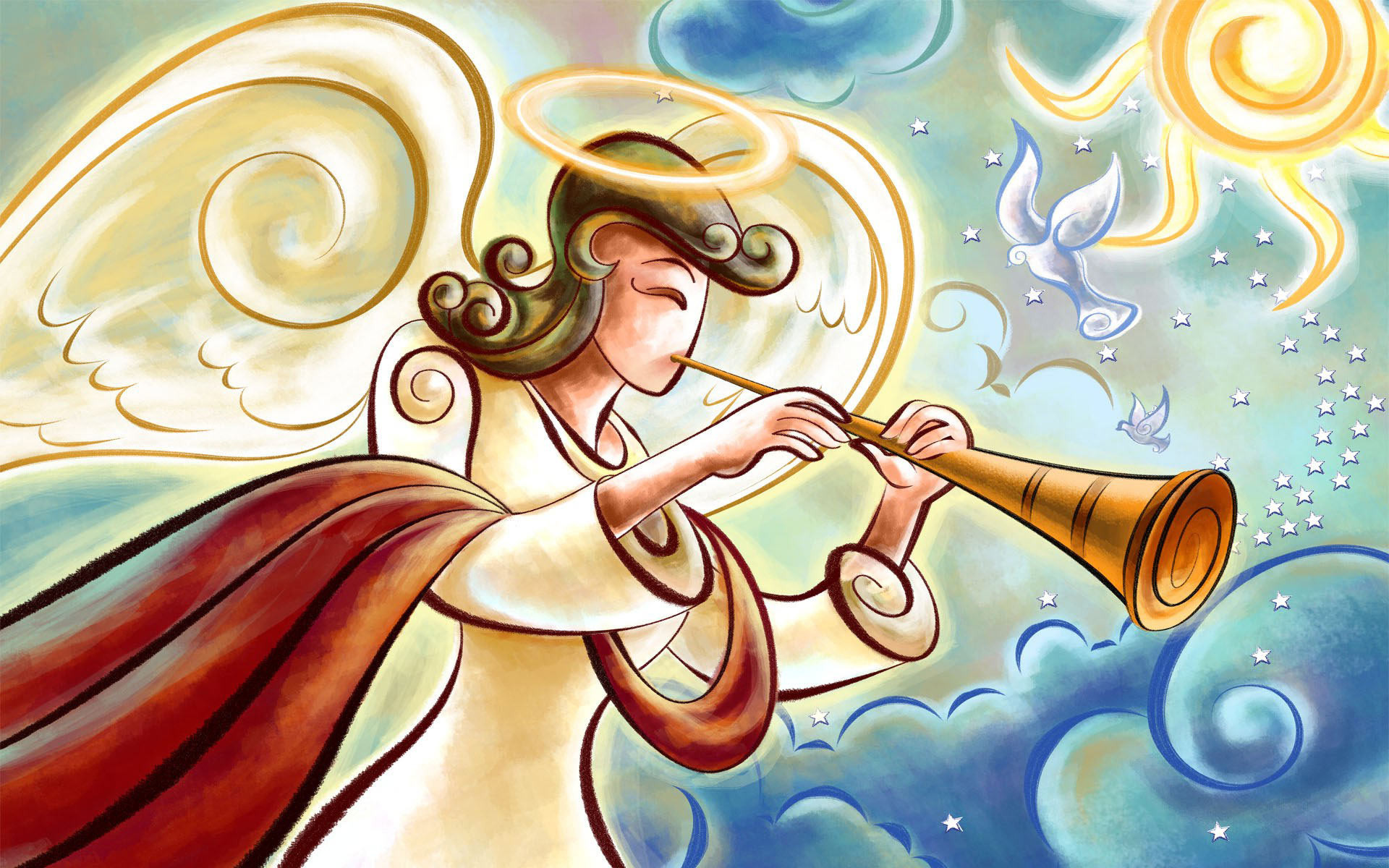 Angel playing the horn