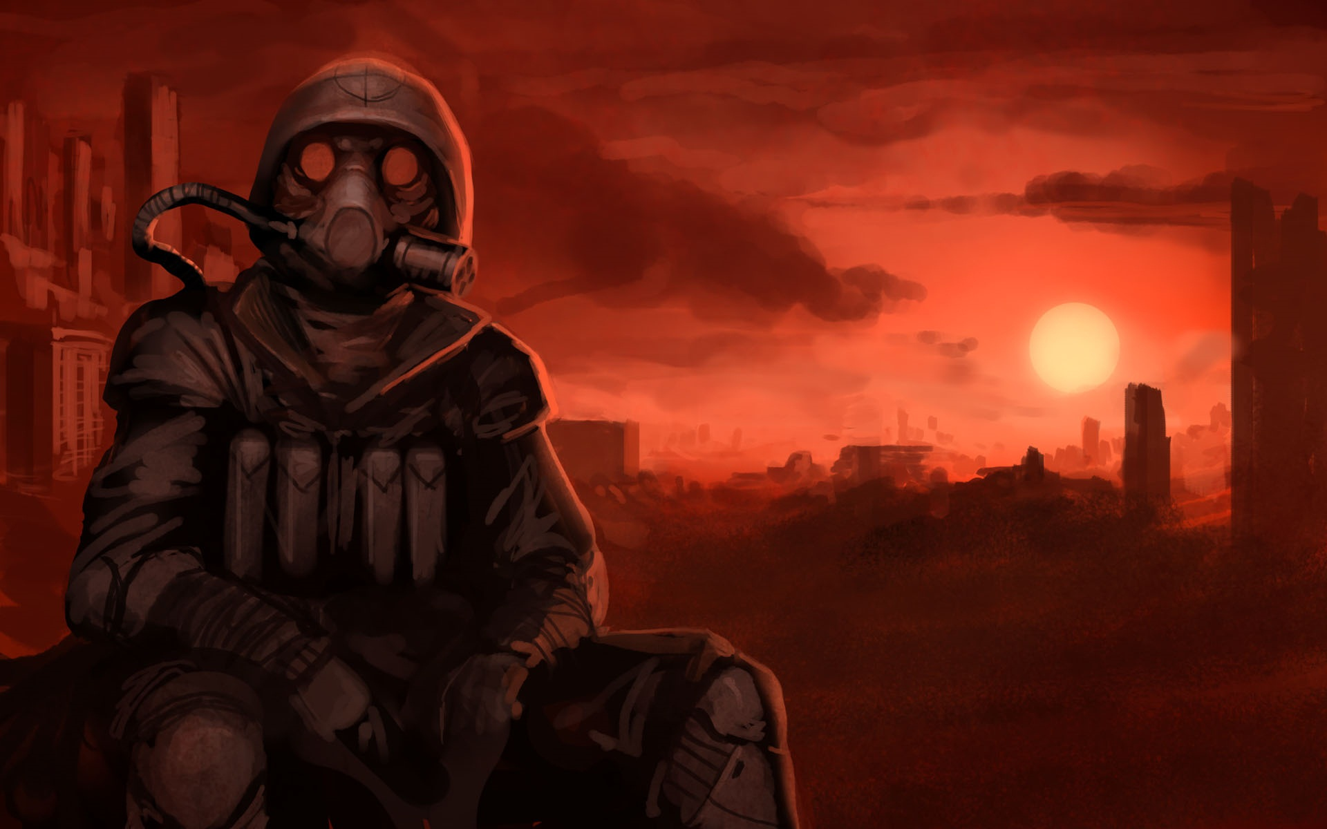 Apocalyptic gas masks gone with the blastwave sitting