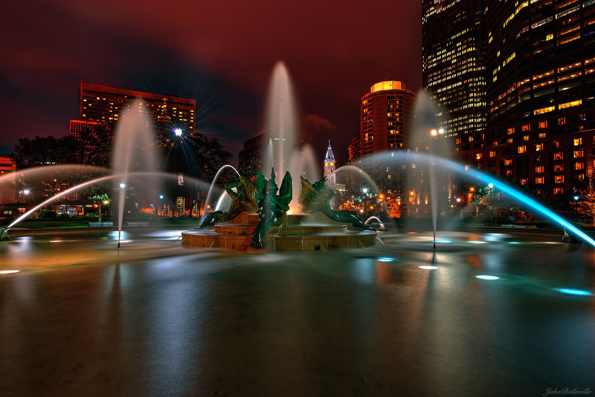architecture bridges buildings cities City Downtown Philadelphia Pennsylvania Night offices storehouses stores texas towers USA Keystone-State
