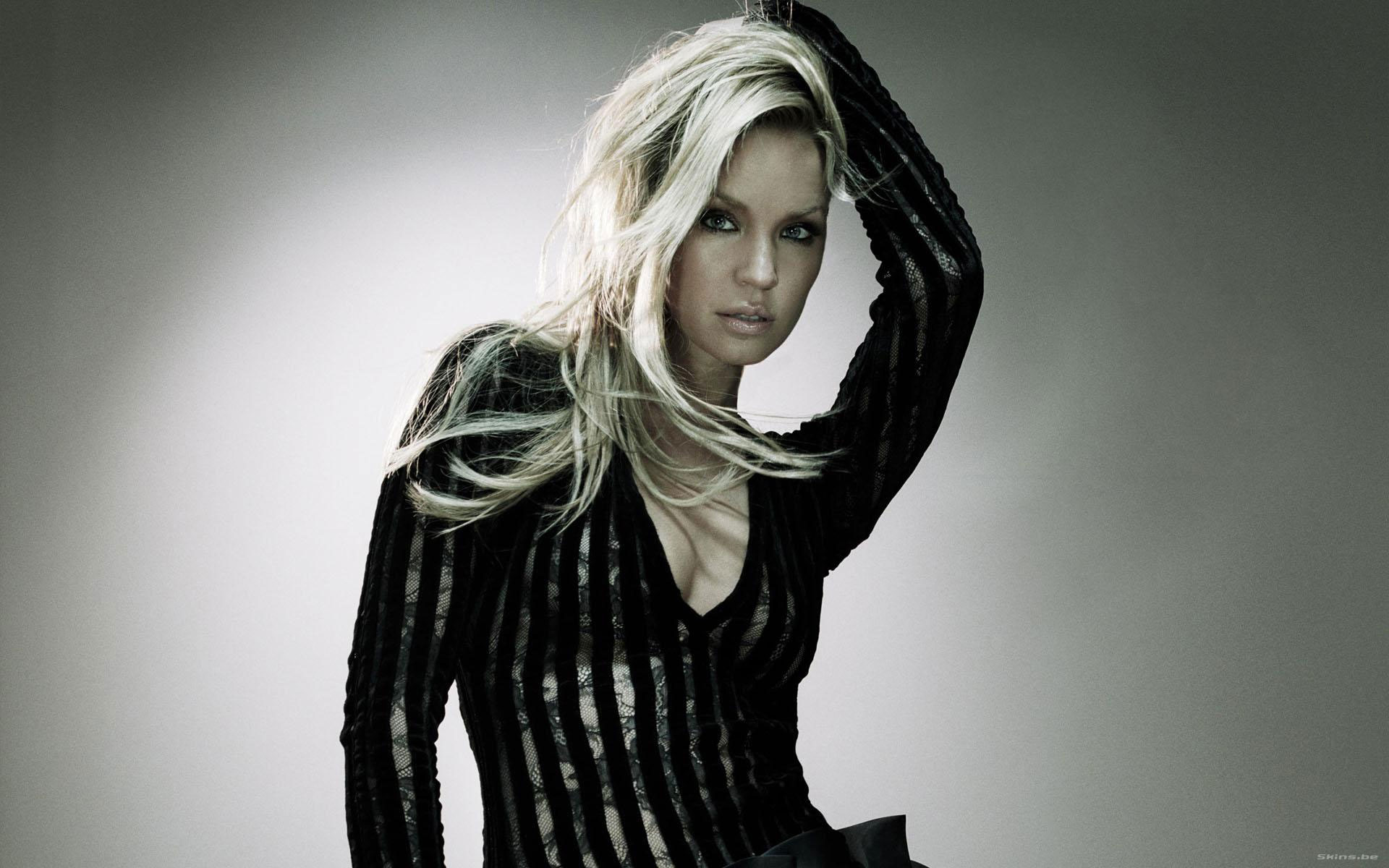 Ashley Scott actress blondes women females girls sexy babes face eyes cleavage