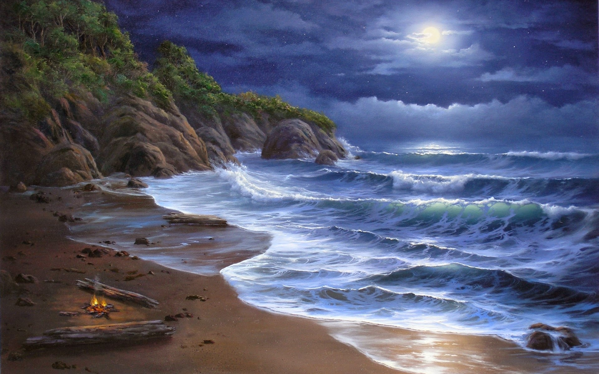 beaches clouds ocean Sea seascapes nature sky waves