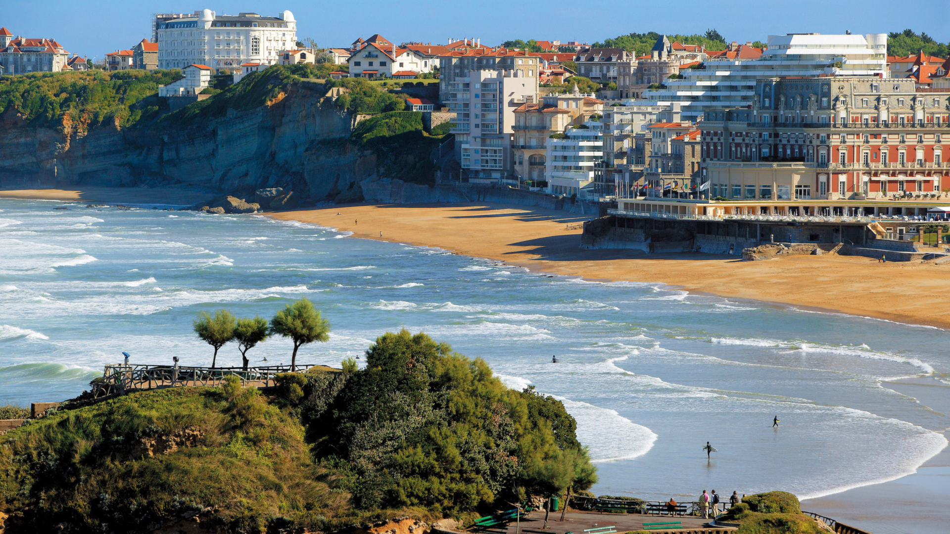Biarritz Basque Country France world cities architecture buildings resort nature beaches ocean sea harbor waves surf trees vacation travel