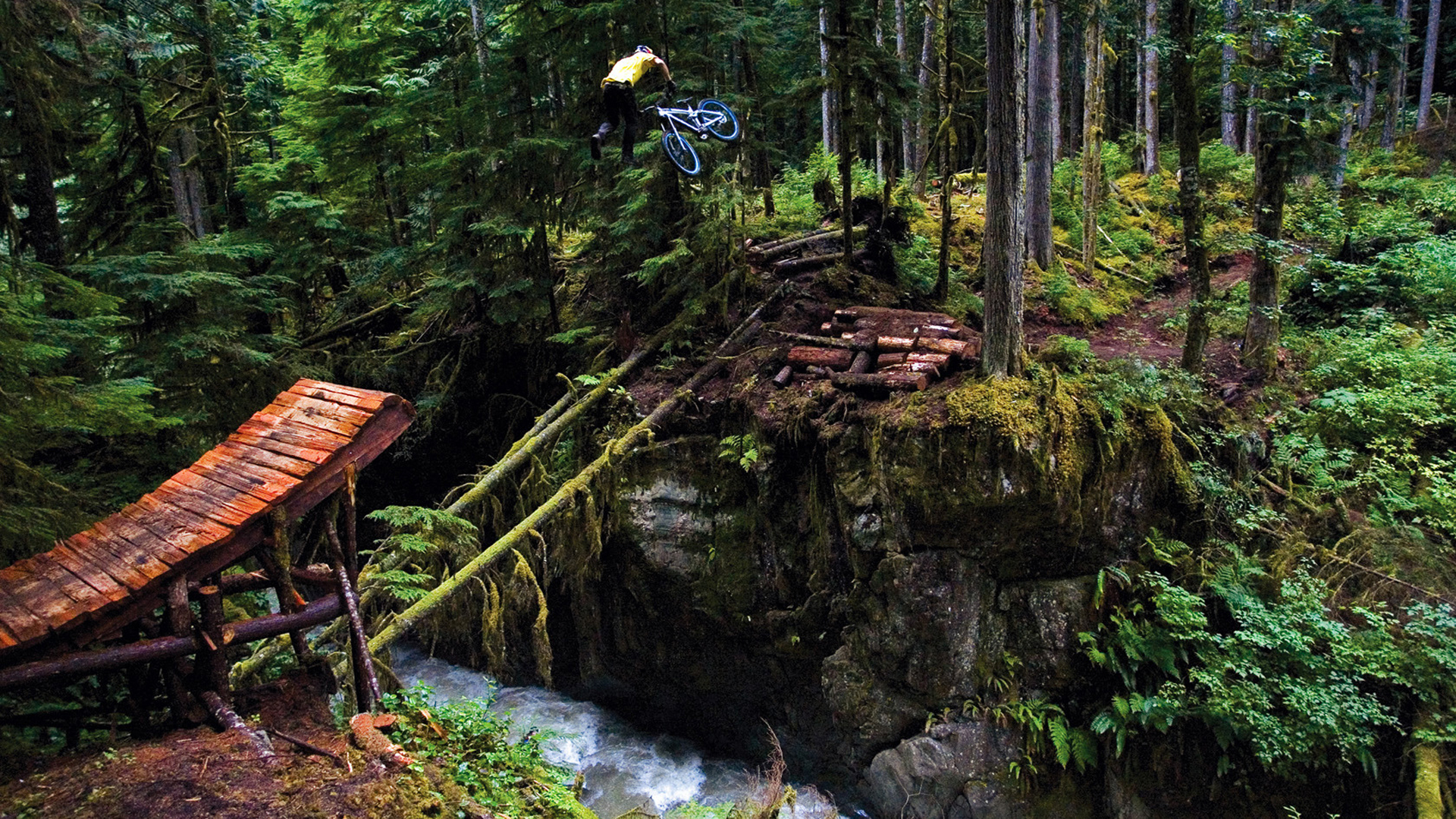 bicycle extreme junp trees forest rivers landscapes people mood