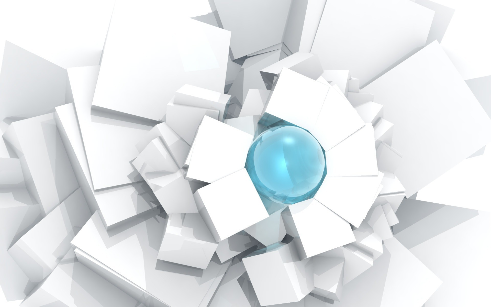 Blue sphere trapped among white cubes