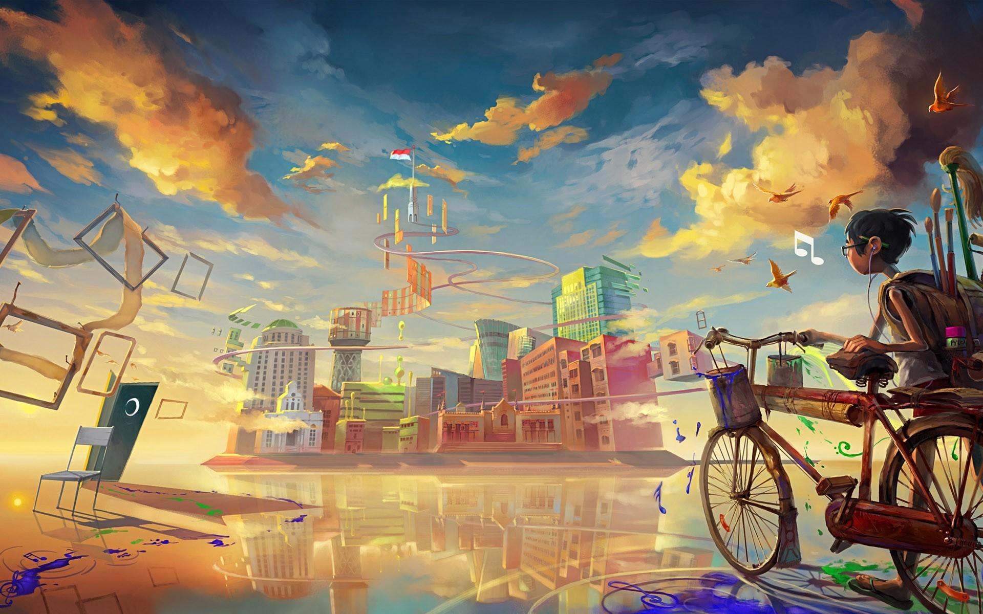 Boy Bicycle City Drawing Paint Art