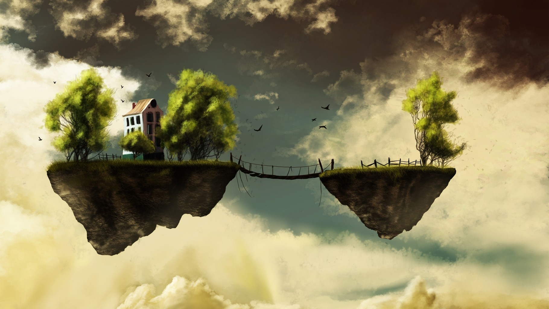 Bridge of Floating islands landscapes