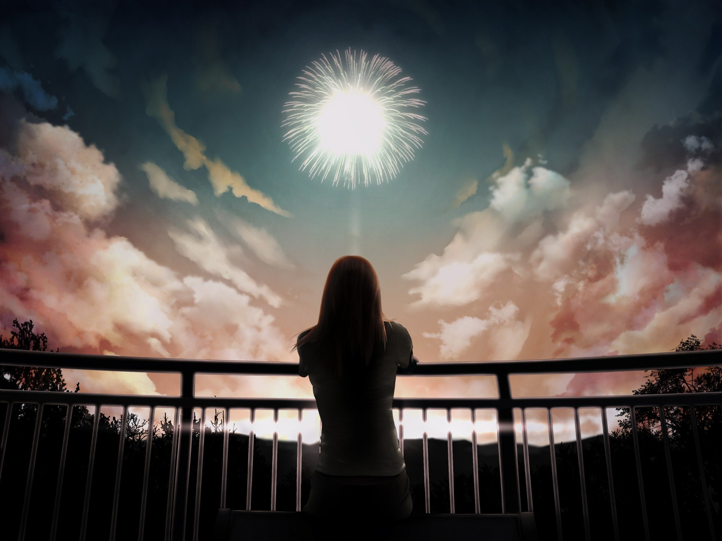 brunettes sunset clouds fireworks long hair scenic skies