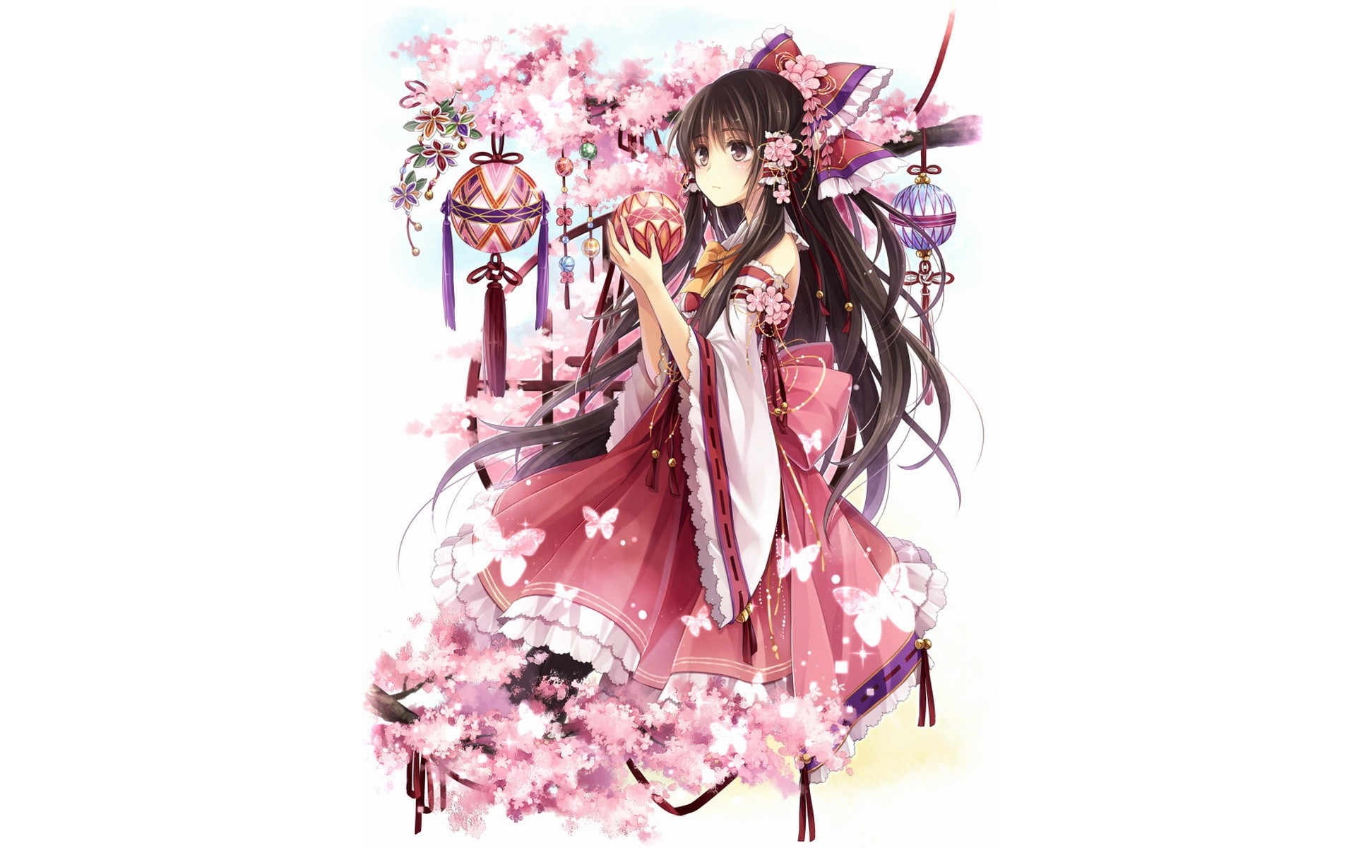 brunettes video games Touhou text long hair brown eyes Miko Hakurei Reimu Japanese clothes anime girls detached sleeves Hagiwara Rin