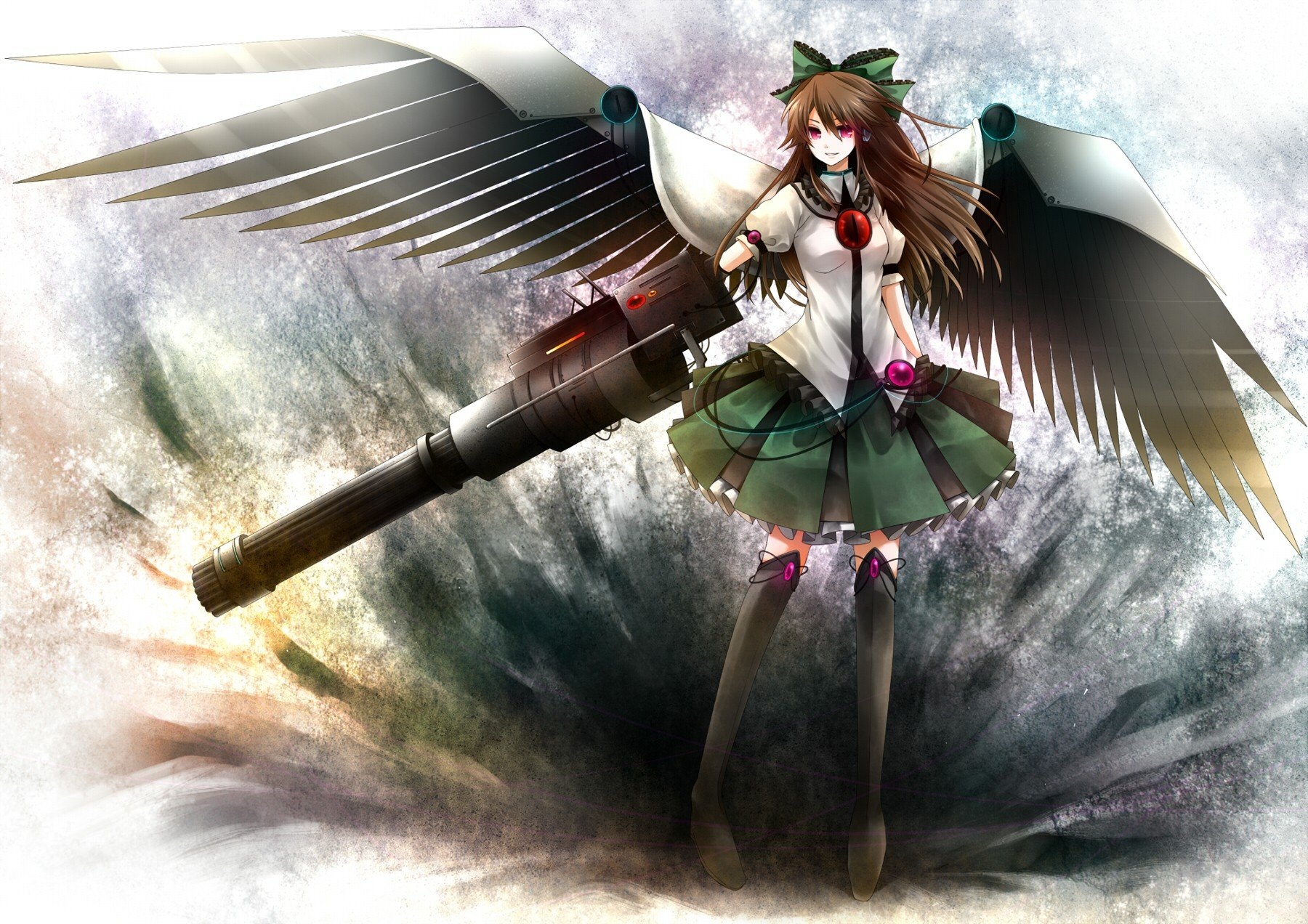 brunettes video games Touhou wings skirts long hair weapons red eyes thigh highs cannons bows capes Reiuji Utsuho anime girls third eye mechanical wings hair ornaments dark wings