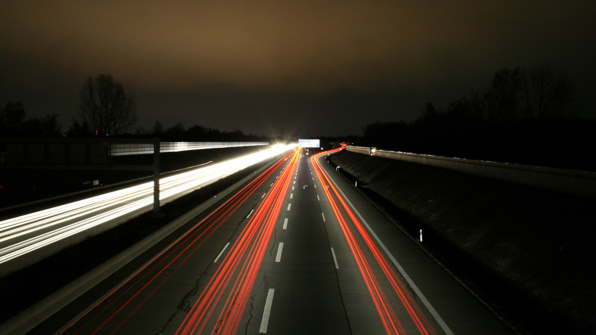 Car lights on the highway