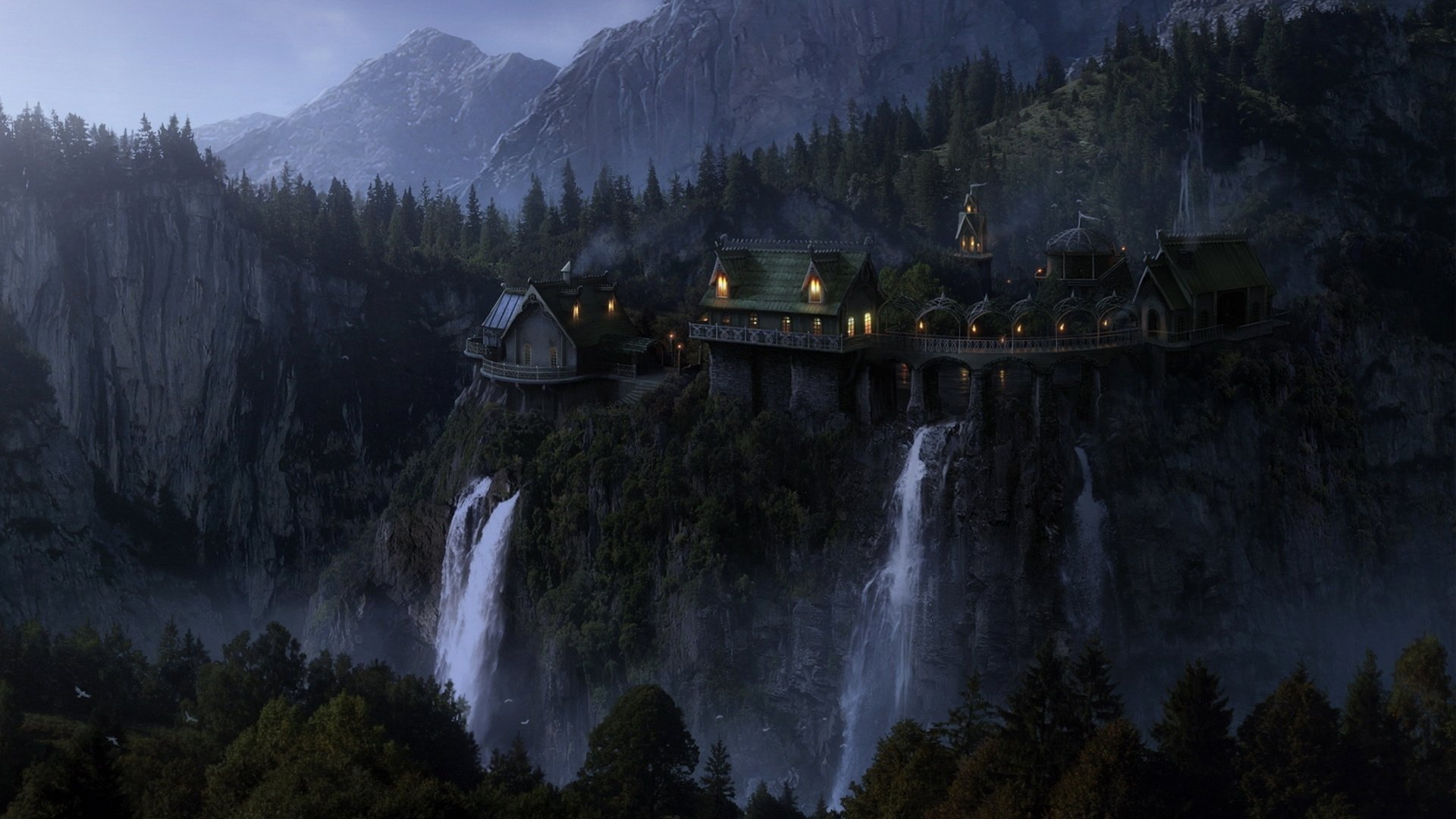 Castle in the mountains near the waterfall