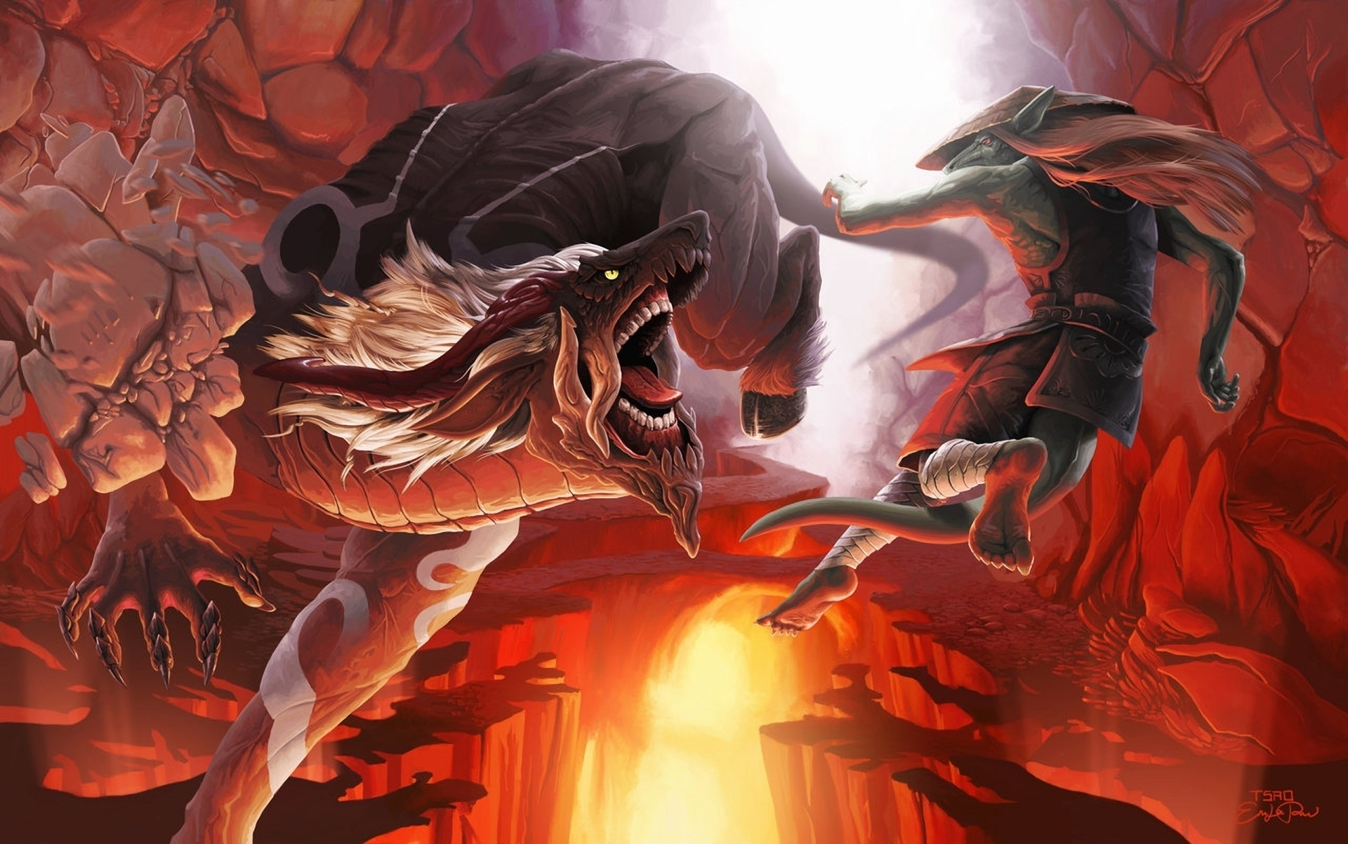 cave hat demon mouth rat tsaoshin monsters art tail battle stones