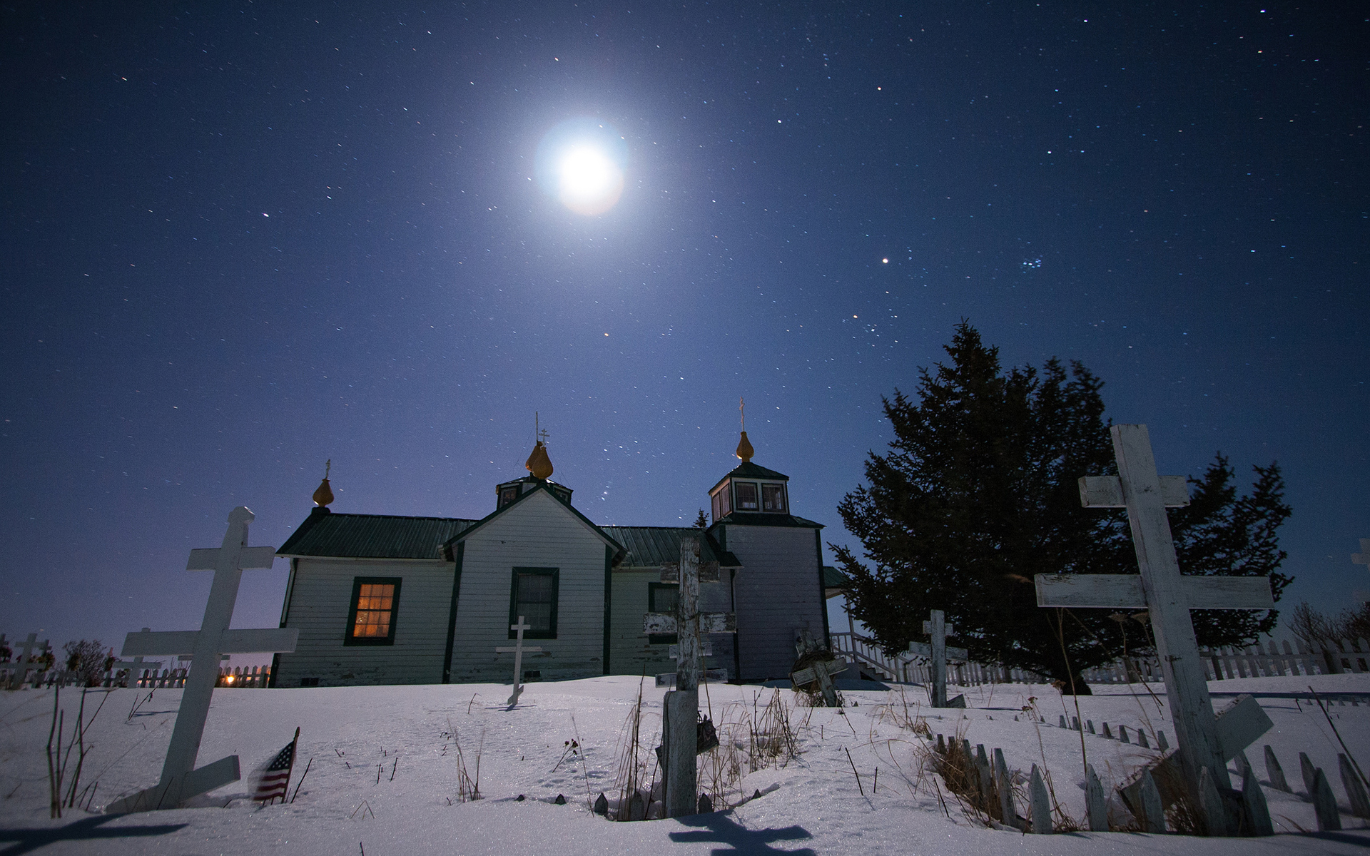 Cemetery Moonlight Stars Night House Snow Winter Cross dark