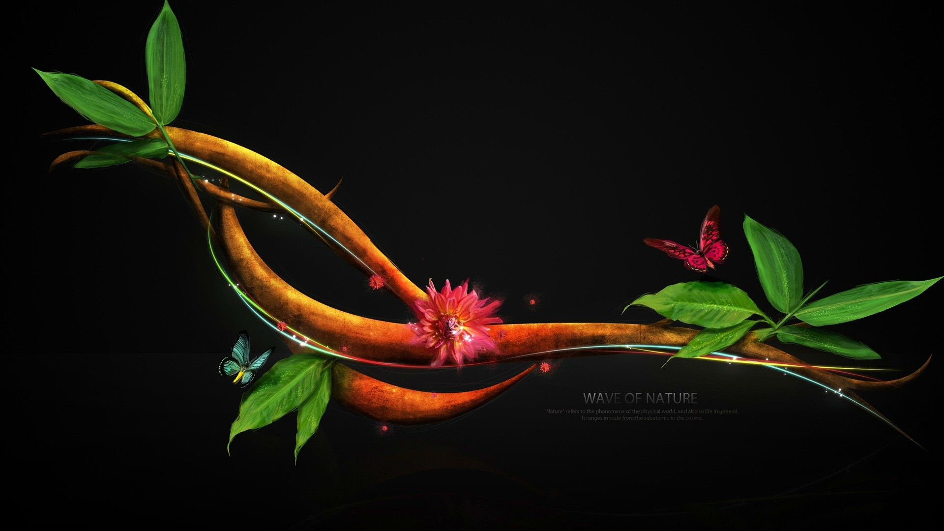cg digital art nature leaves insects butterfly flowers mood