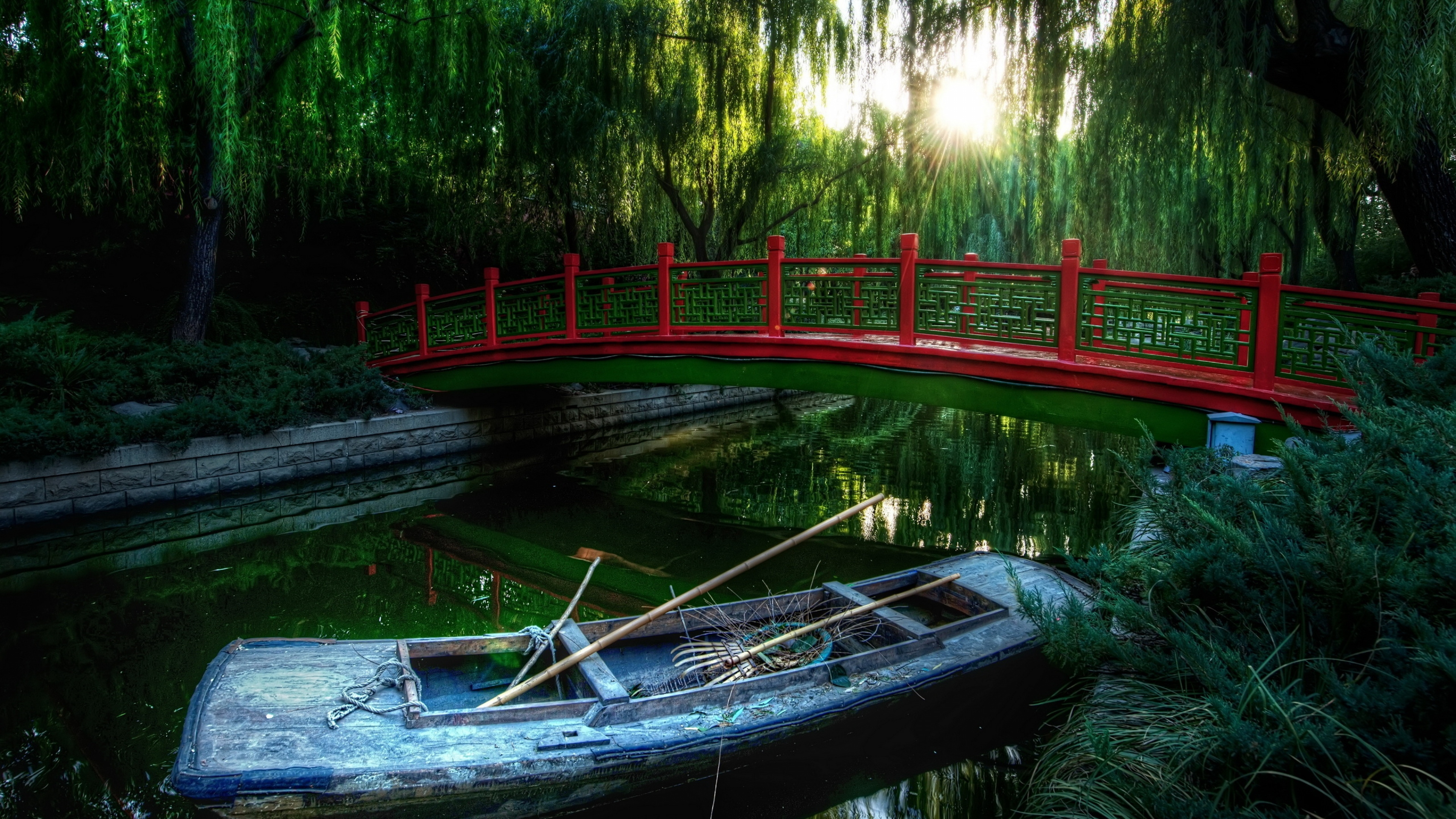 Chinese boat and brige on the river
