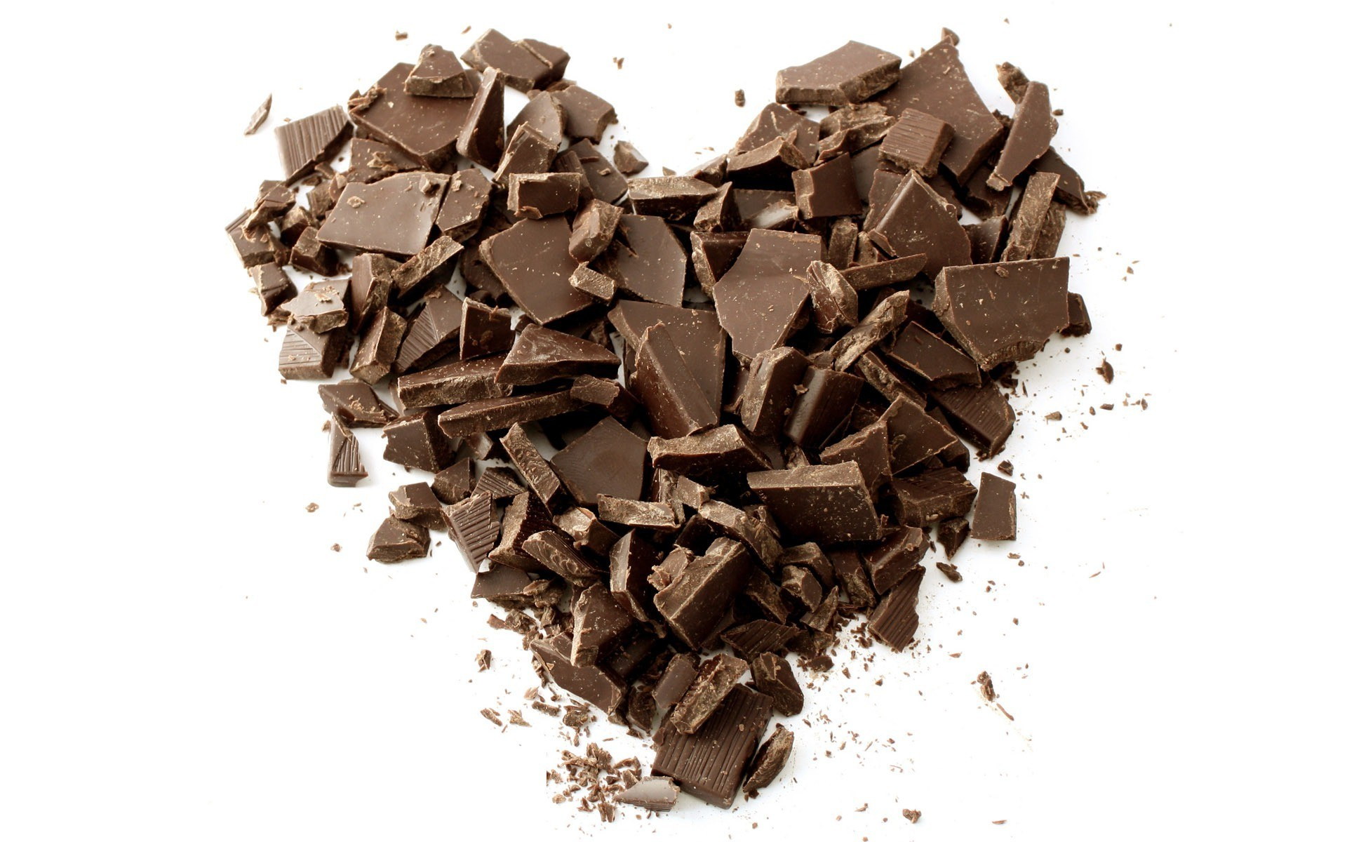 Chocolate pieces shaped as a heart