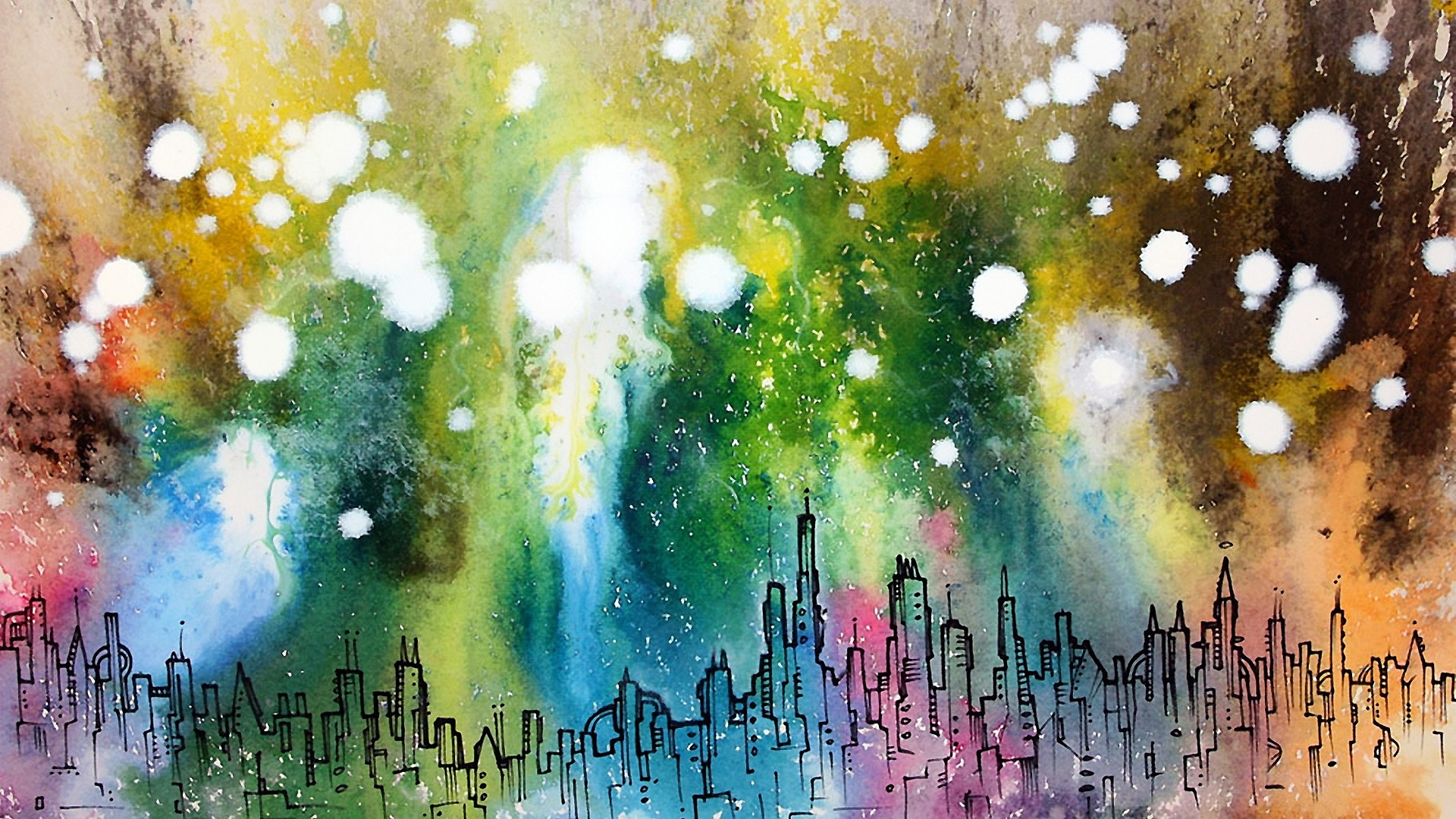 cityscapes artwork abstract cities color spots