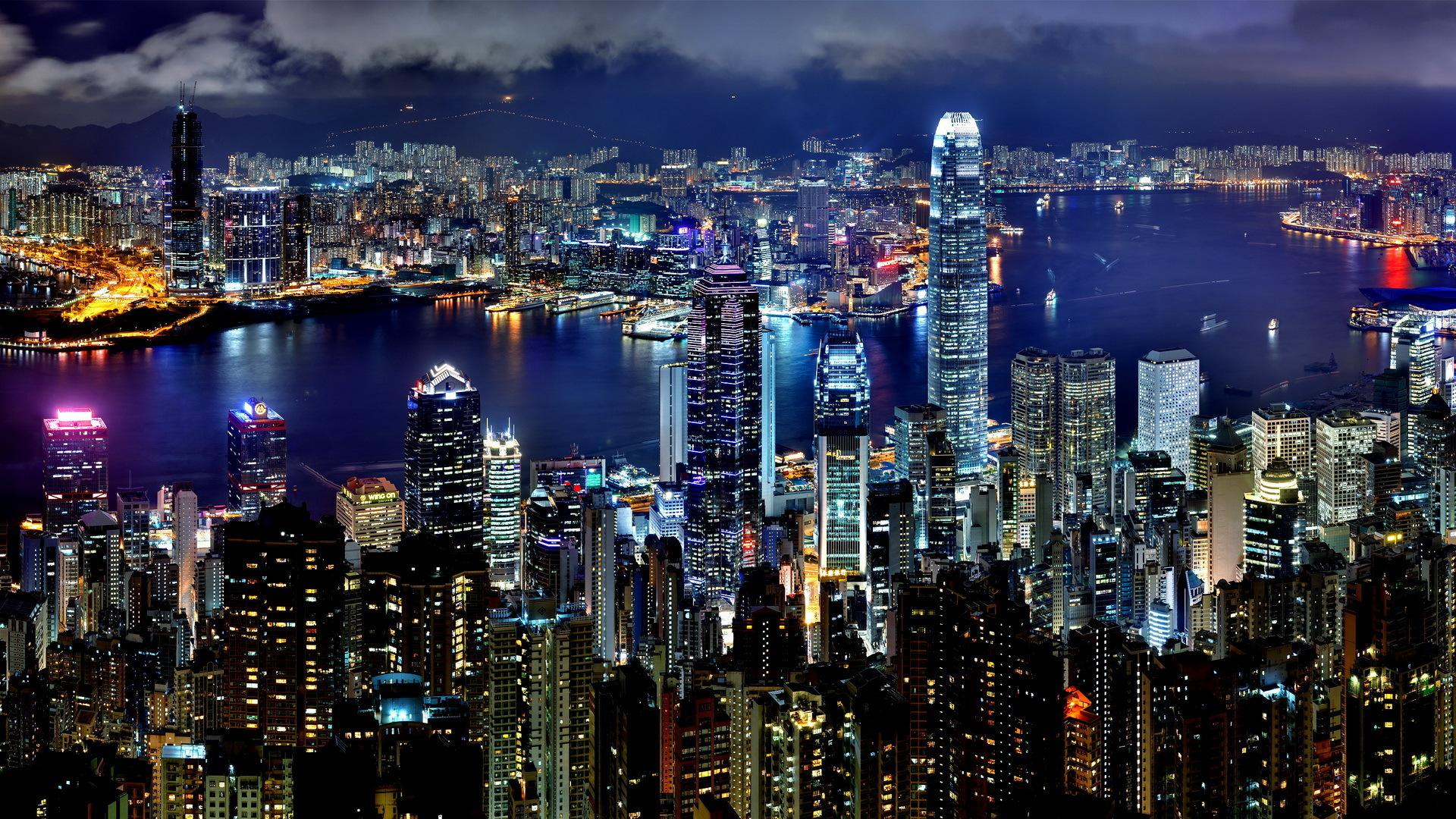 cityscapes night architecture buildings Hong Kong