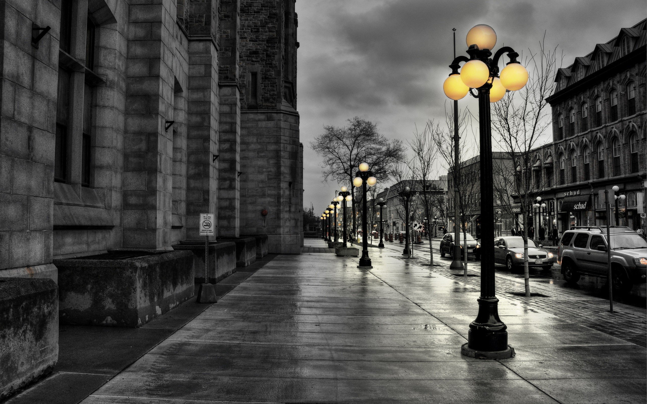 cityscapes streets lanterns HDR photography selective coloring