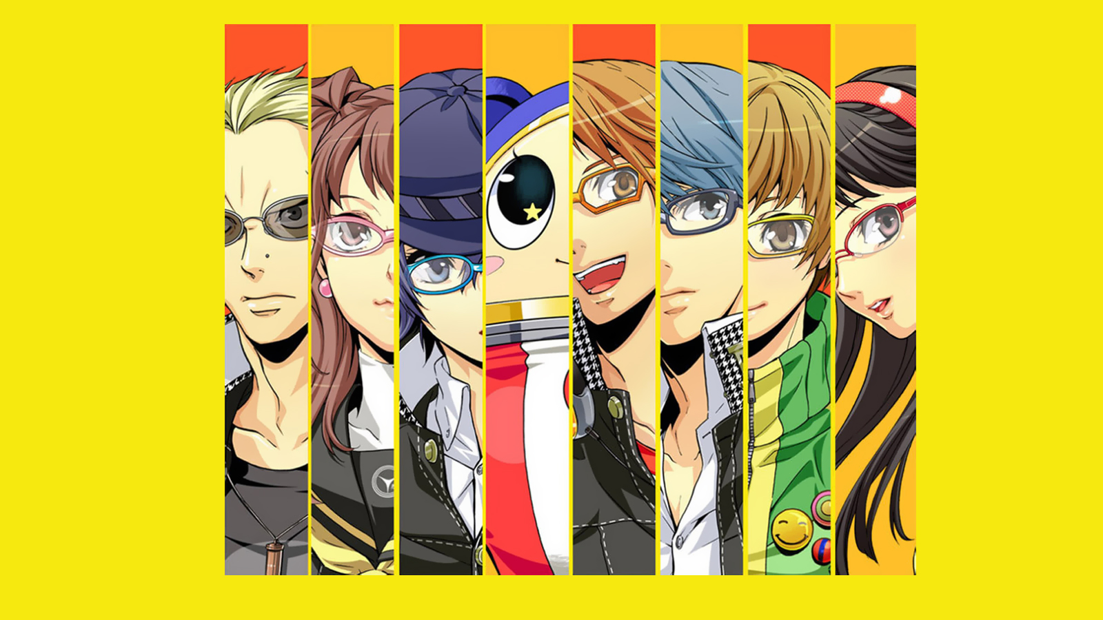 close-up video games glasses long hair Persona series black eyes Persona 4 simple background faces yellow background black hair Amagi Yukiko Soejima Shigenori