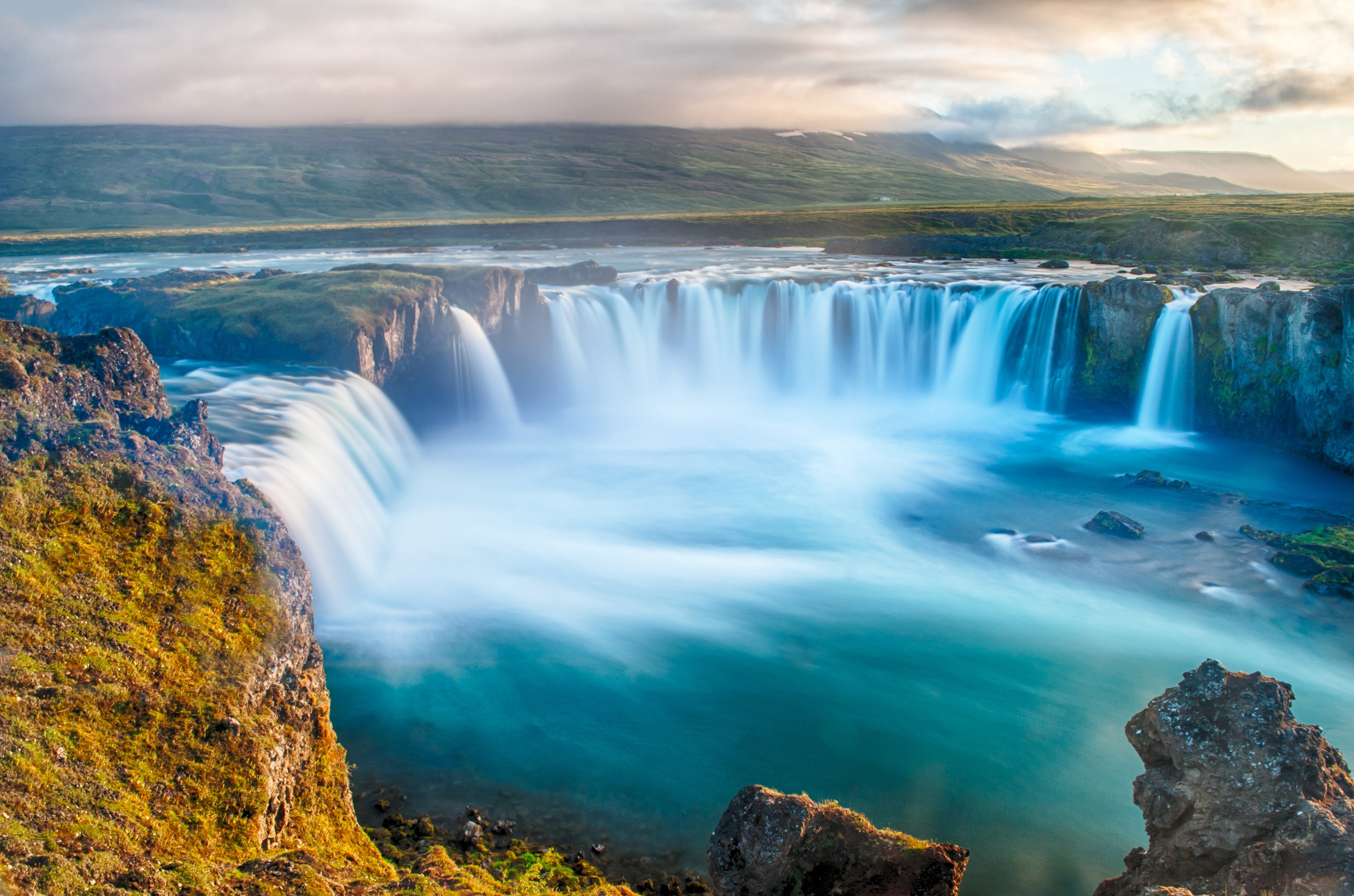 clouds hills waterfall river valley cliff fog mist