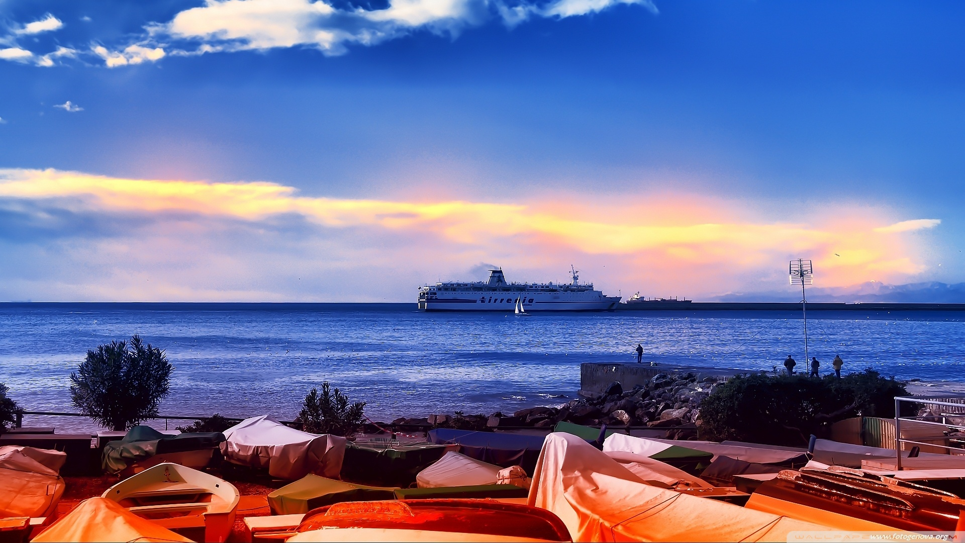 Cruise boats and houses