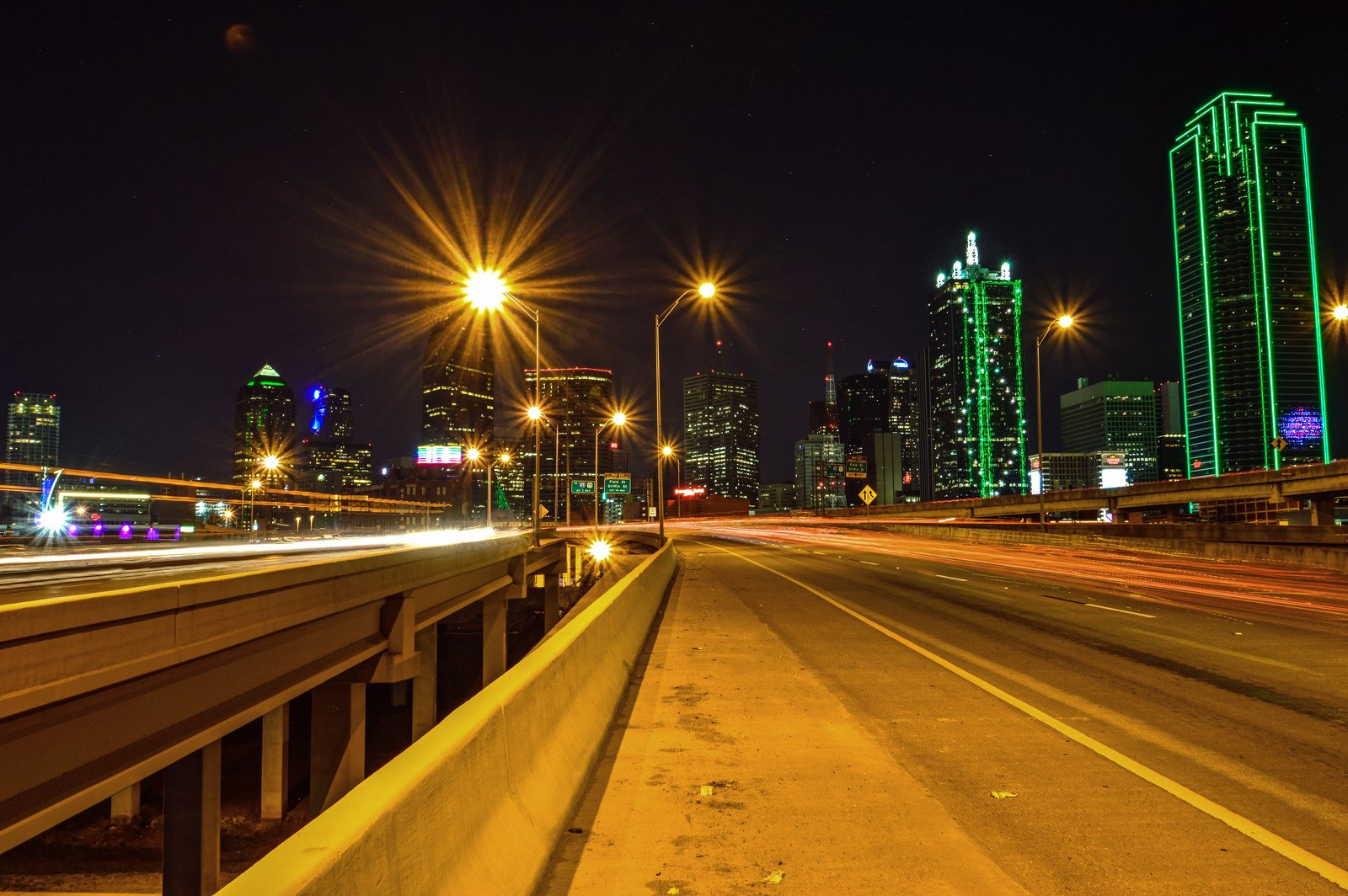 Dallas architecture bridges cities City texas Night towers buildings USA Downtown Oak-Lawn Lakewood Fair Park Lake-Highland White-Rock-Lake Oak-Cliff offices storehouses stores roads highways