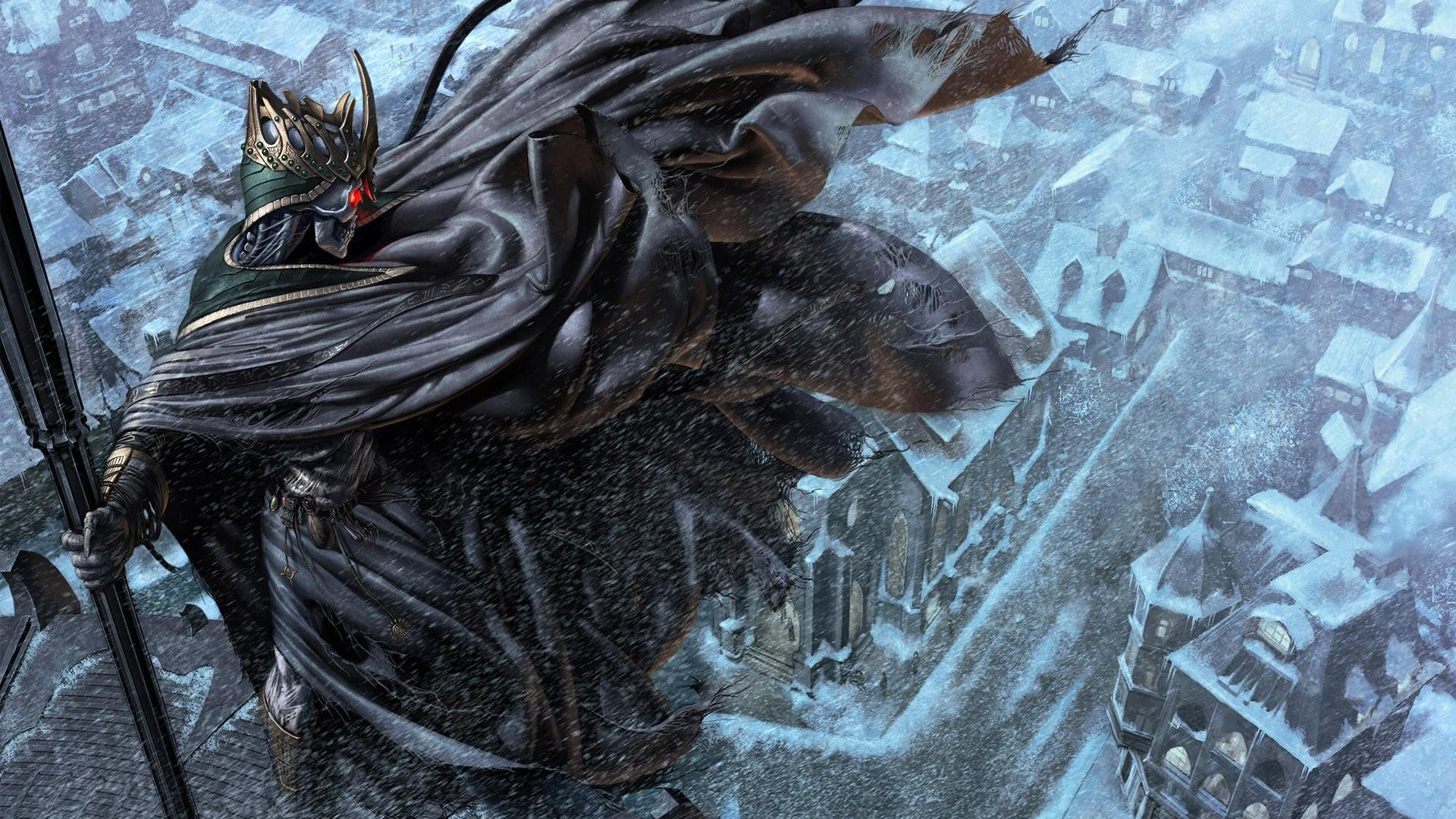 Death judge overlooking the snowy city