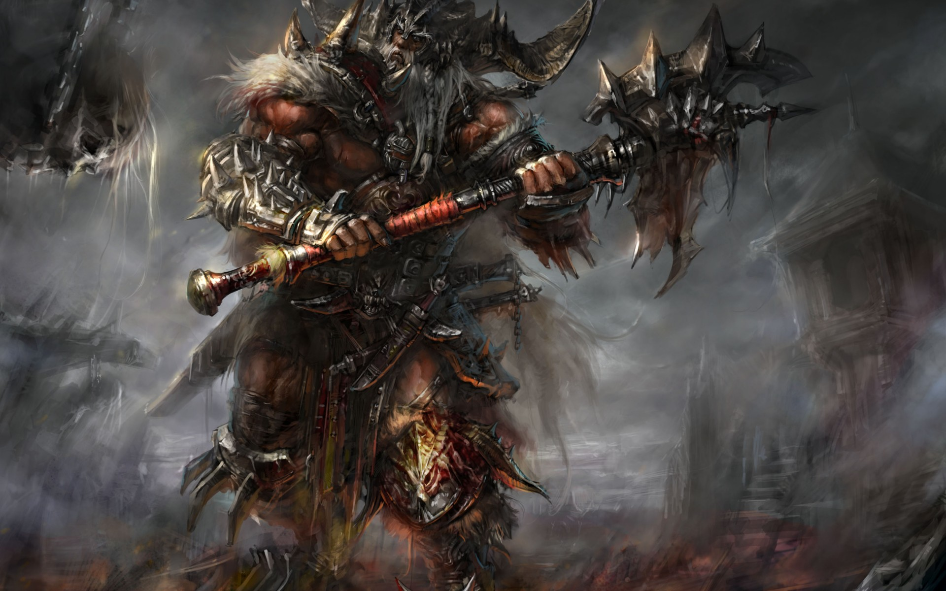 Diablo barbarian armor blood horns spikes ax undead warriors