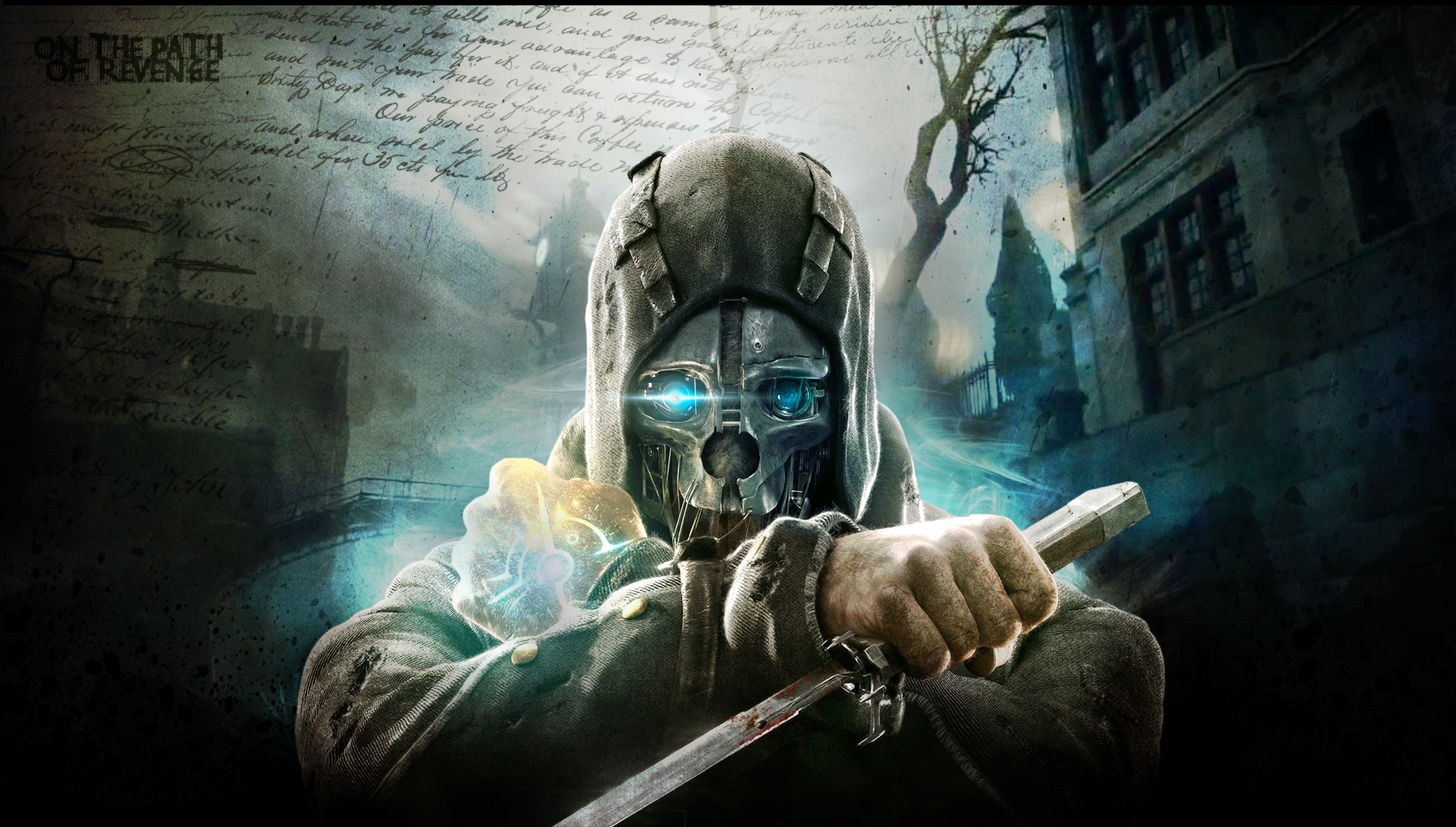 Dishonored warrior sci fi futuristic mask weapons knife text