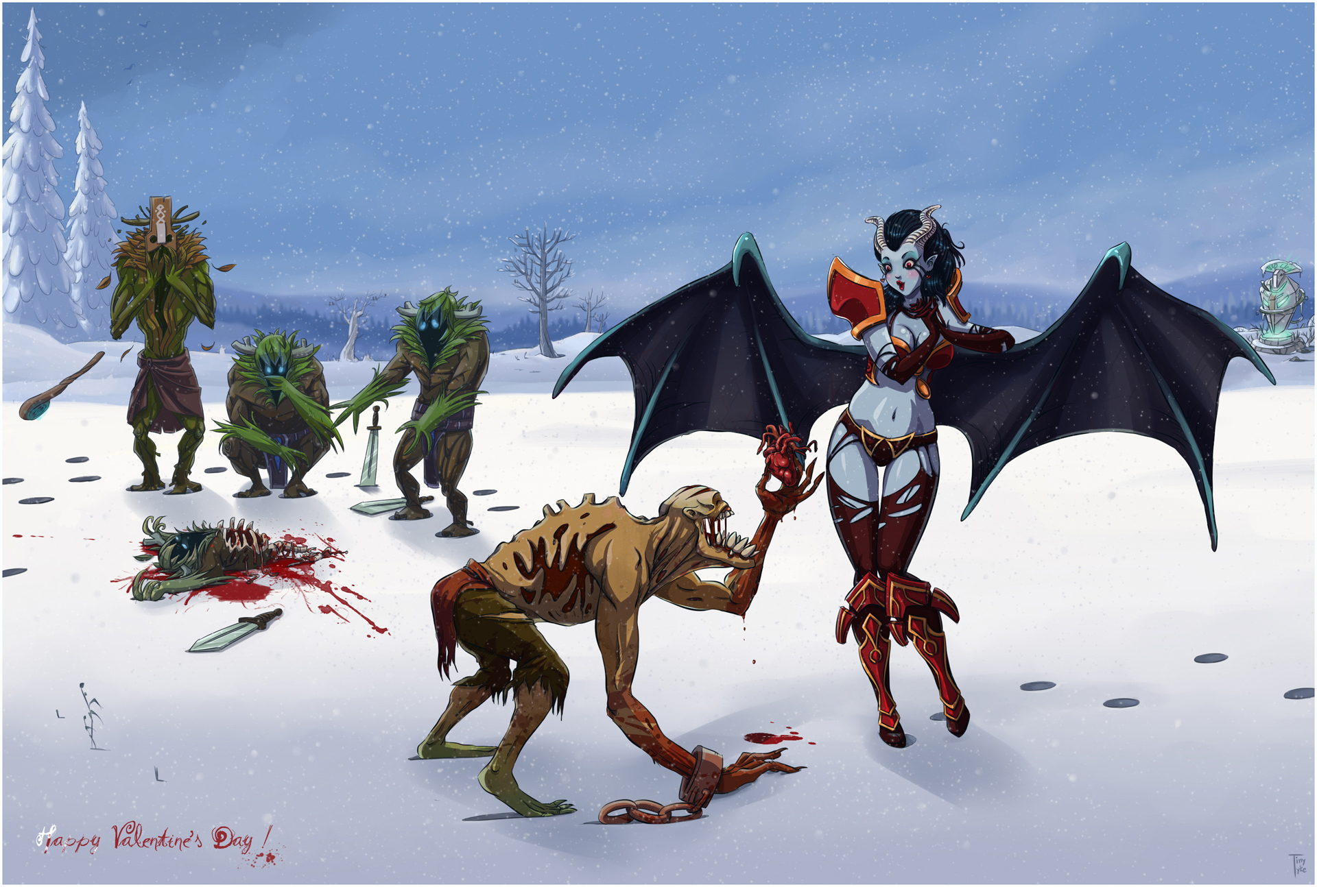 Dota Monster Snow Winter Heart Blood Valentine's Day dark fantasy demon girl sexy babes wings