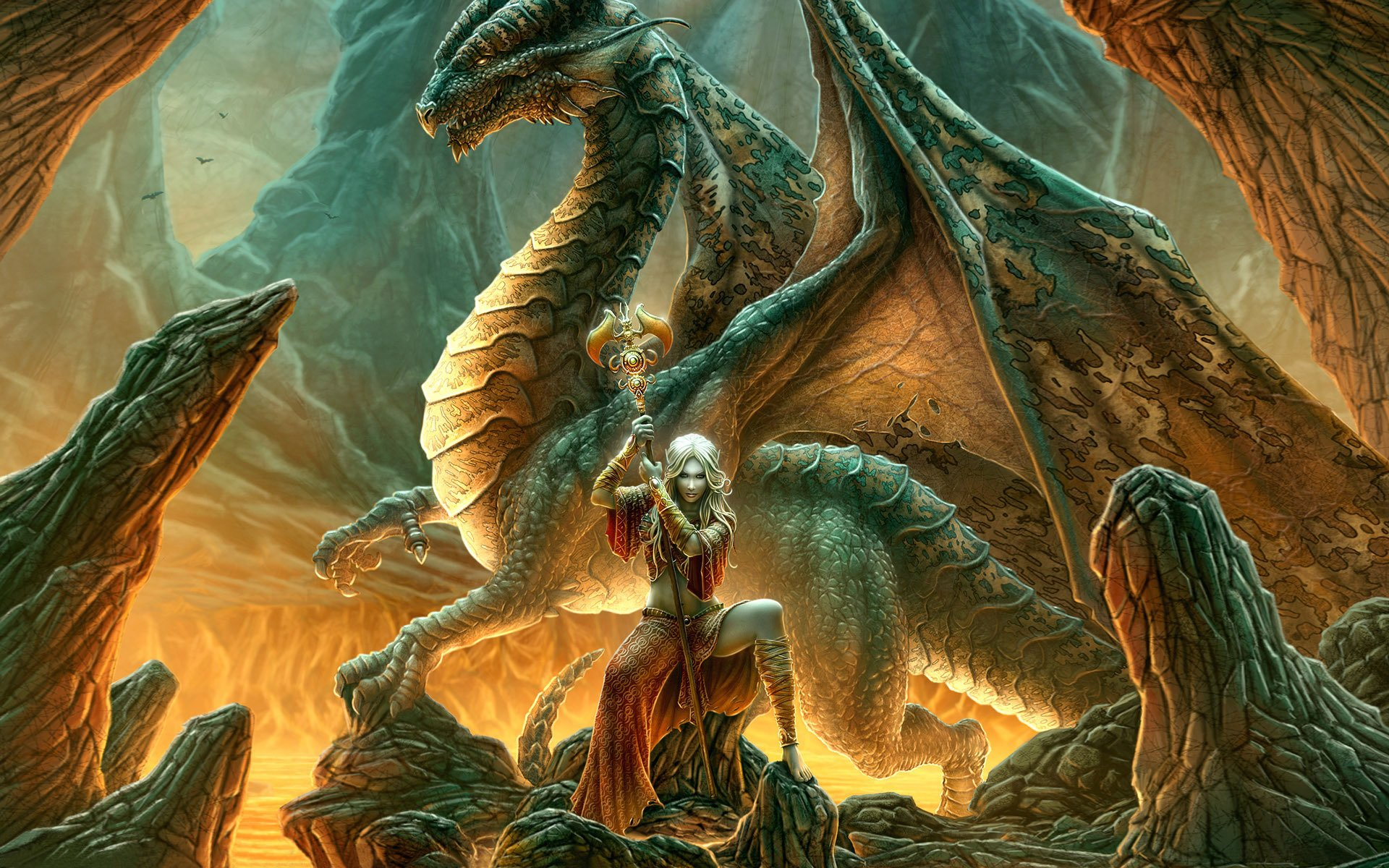 dragon queen Fantasy - Witch woman fire
