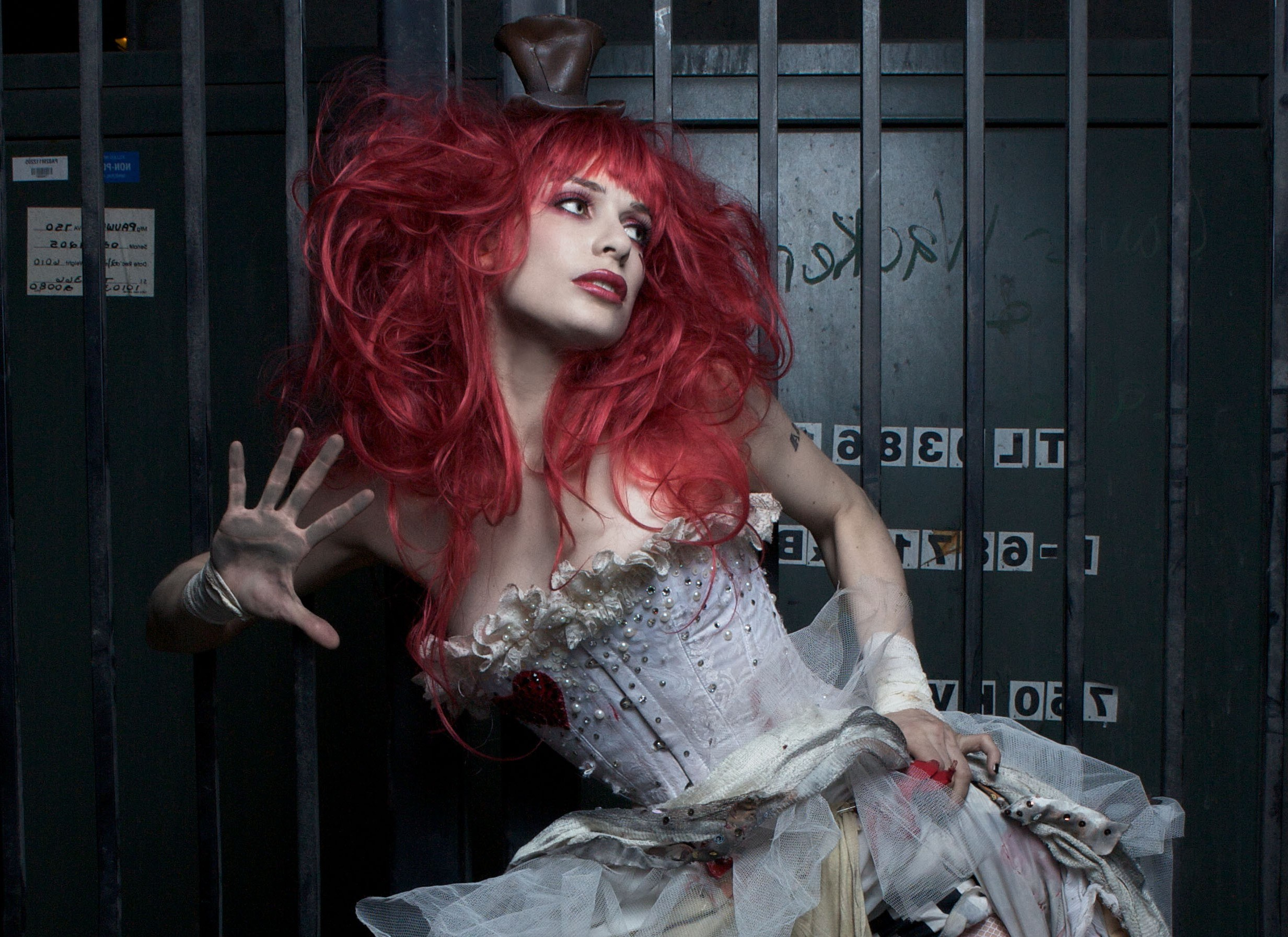 Emilie Autumn Liddell music singer songwriter poet violinist Victorian industrial glam women females girls babes sexy sensual redhead pale musician tattoo style face eyes lips