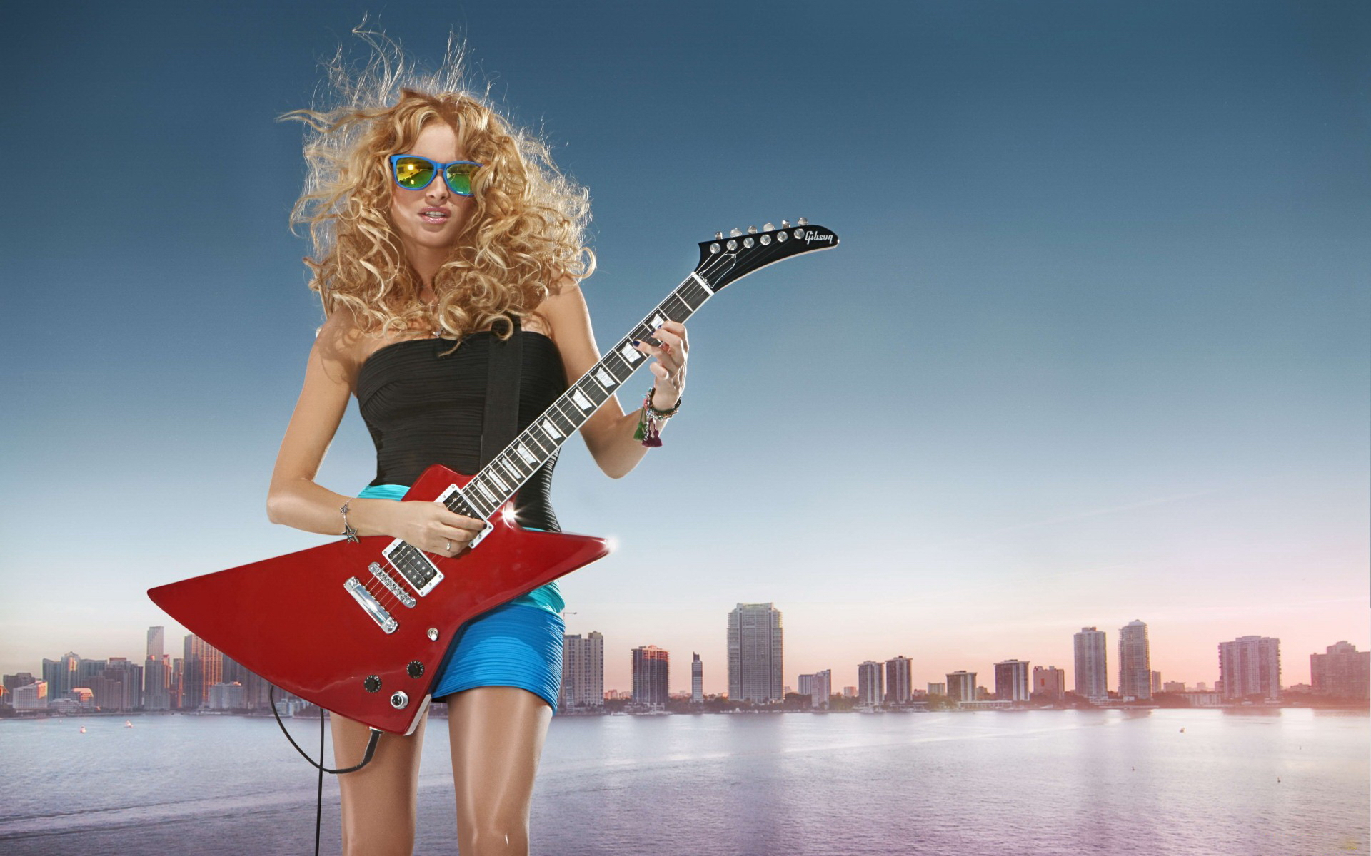 entertainment music guitars strings musical instuments women females girls sensual sexy babes models blondes
