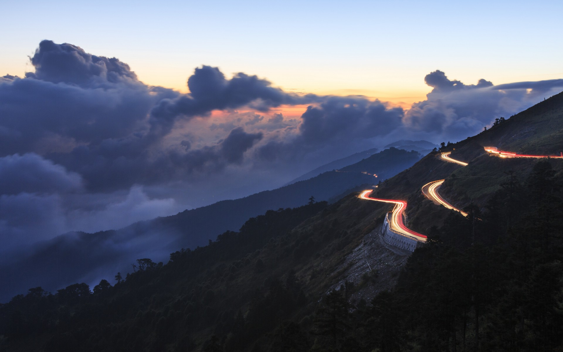 evening  hills  serpentine  road  lights  clouds  sky sunset landscape