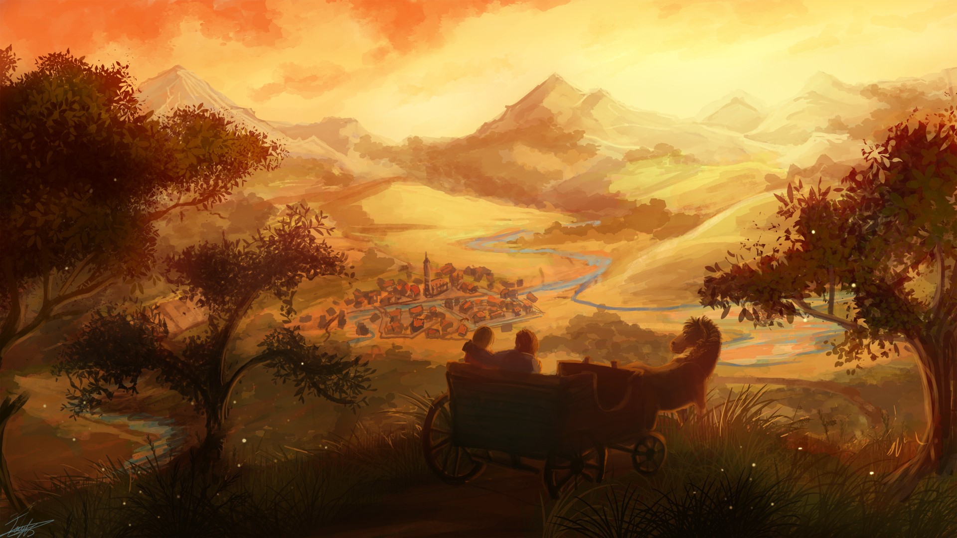 fantasy art love romance mood girl boy wagon landscapes cities town architecture buildings trees hill rivers