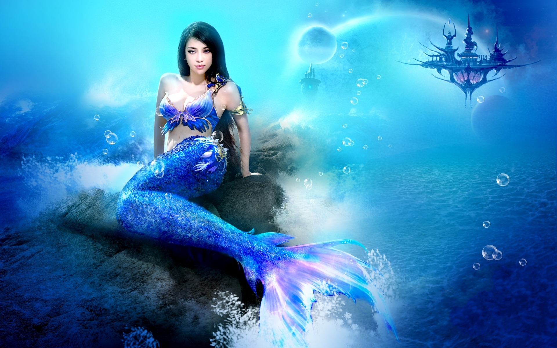 fantasy art mermaid women cg digital