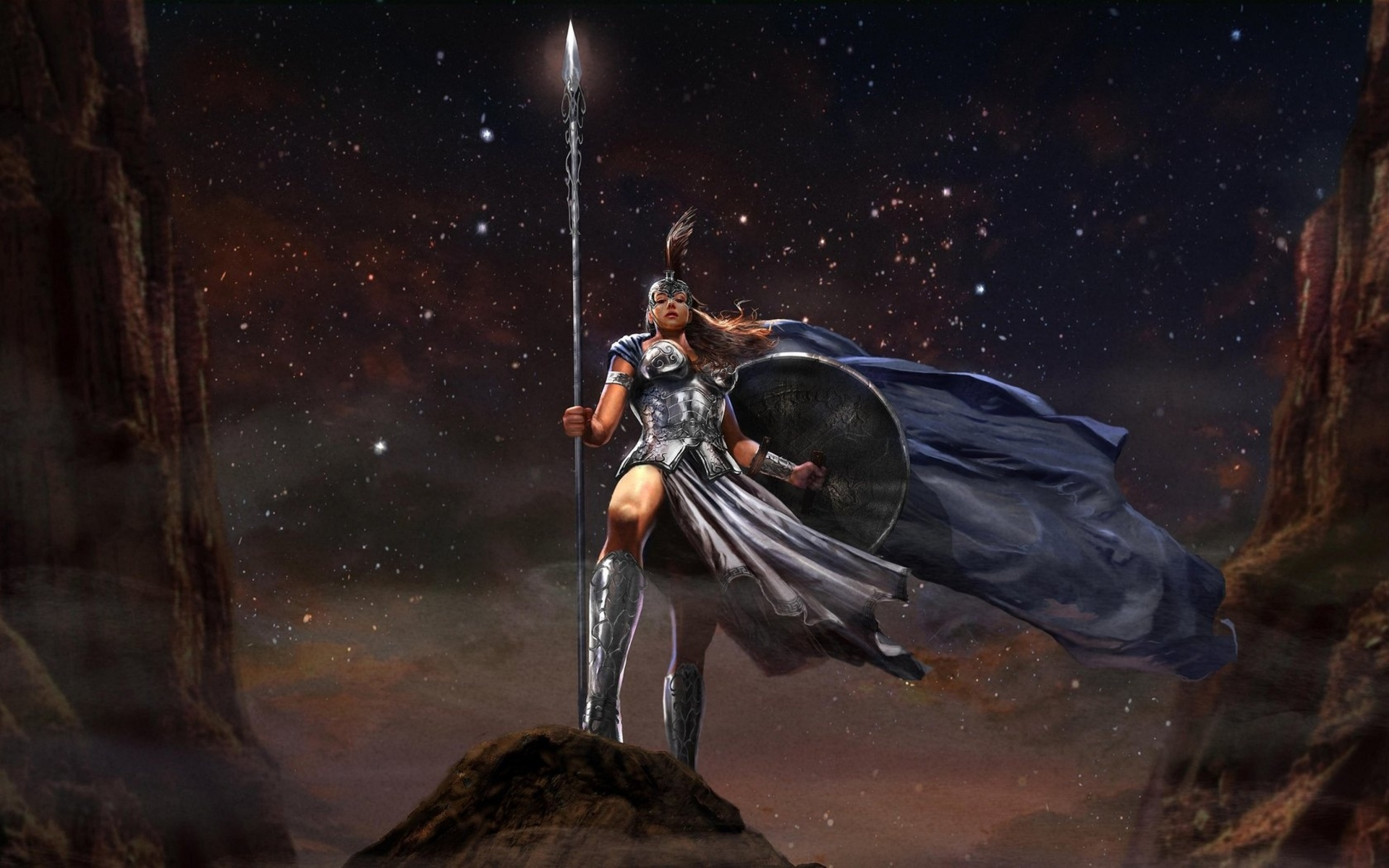 fantasy art warroir weapons spear armor knight women sexy babes stars