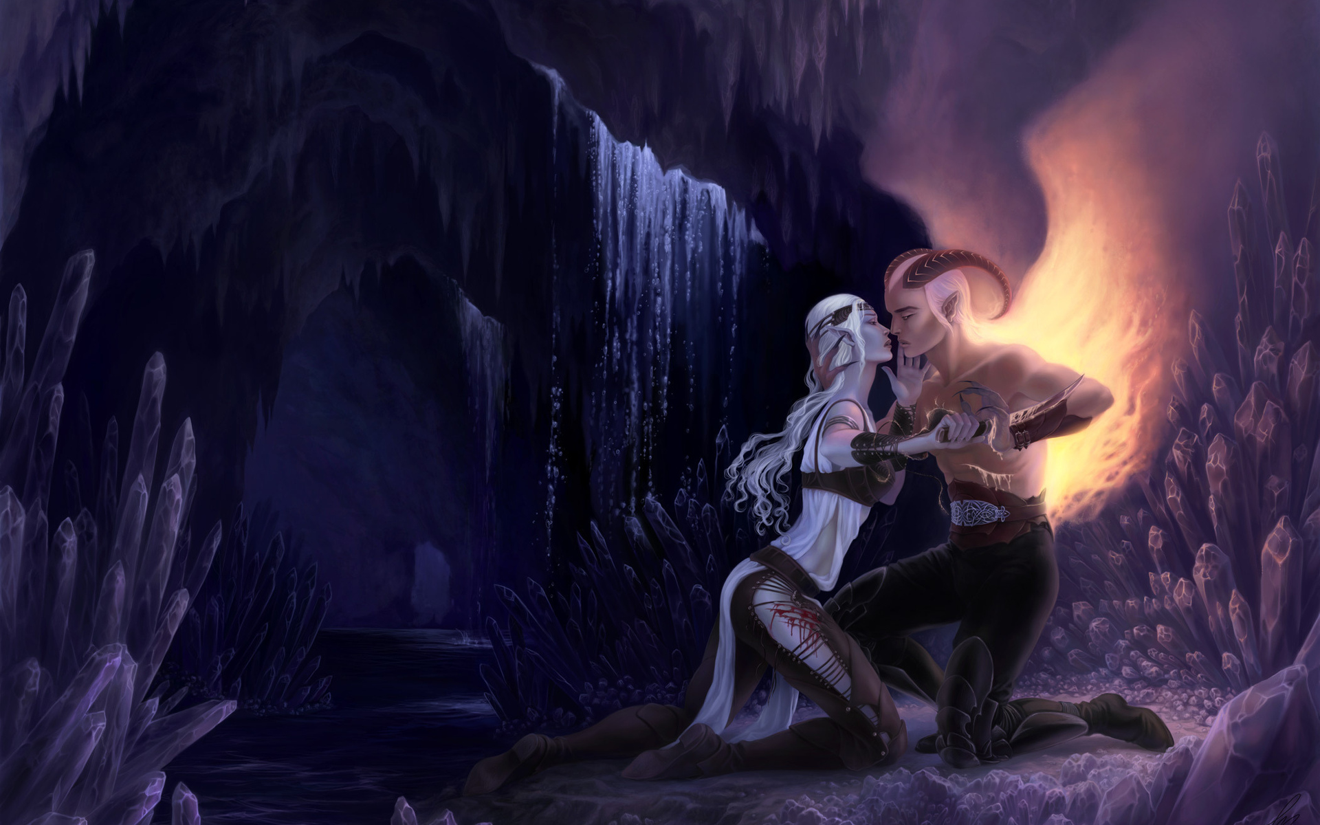 fantasy demon hell caves landscapes waterfall crystal love romance emotion good evil fire flames mountains cliff art rivers women females girls babes blondes legs dark blood sad sorrow elf