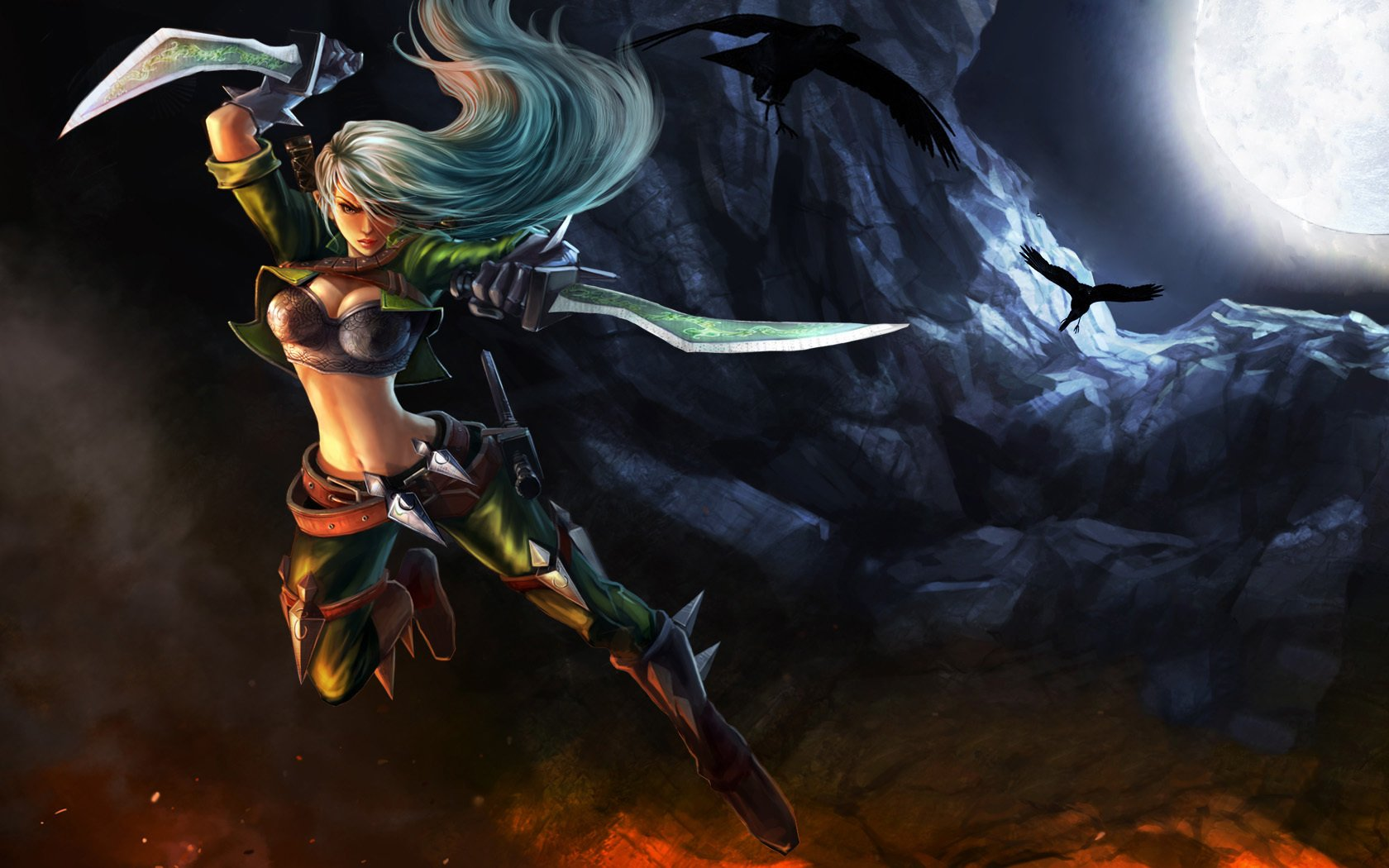 fantasy League of Legends weapons artwork Katarina the Sinister Blade daggers Riot Games