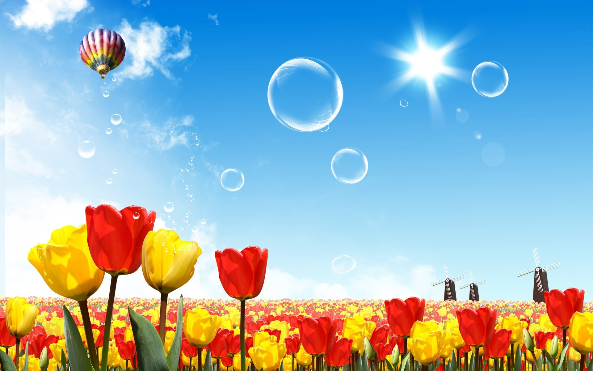 fantasy nature bubbles tulips drawings